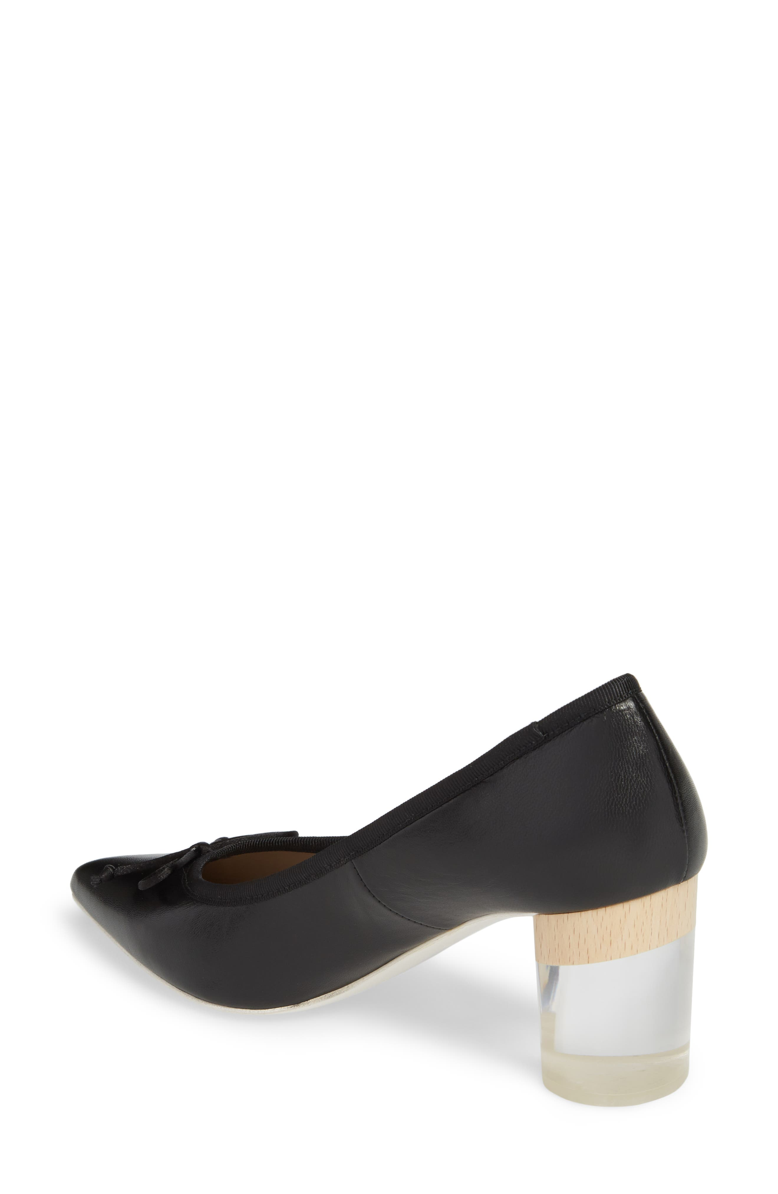 Asia Pointy Toe Pump,                             Alternate thumbnail 2, color,                             Black Leather
