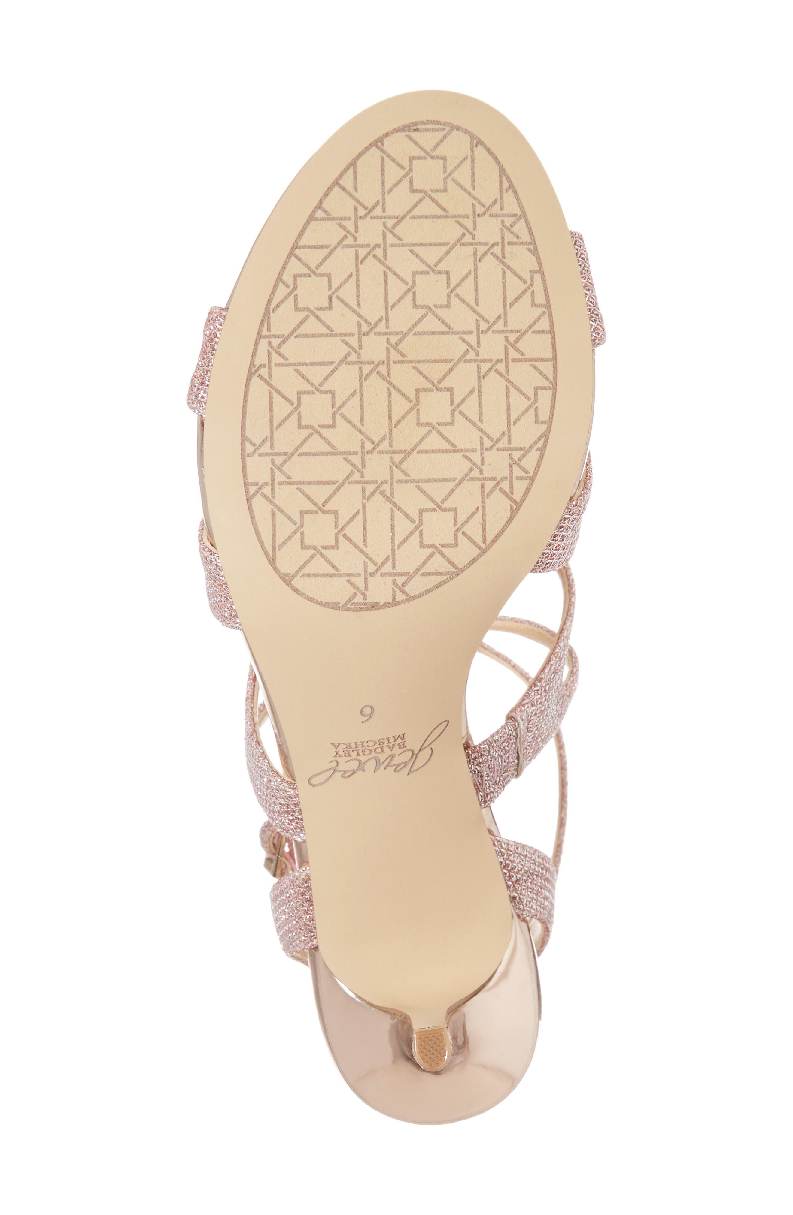 Tasha Glitter Sandal,                             Alternate thumbnail 6, color,                             Rose Gold Glitter