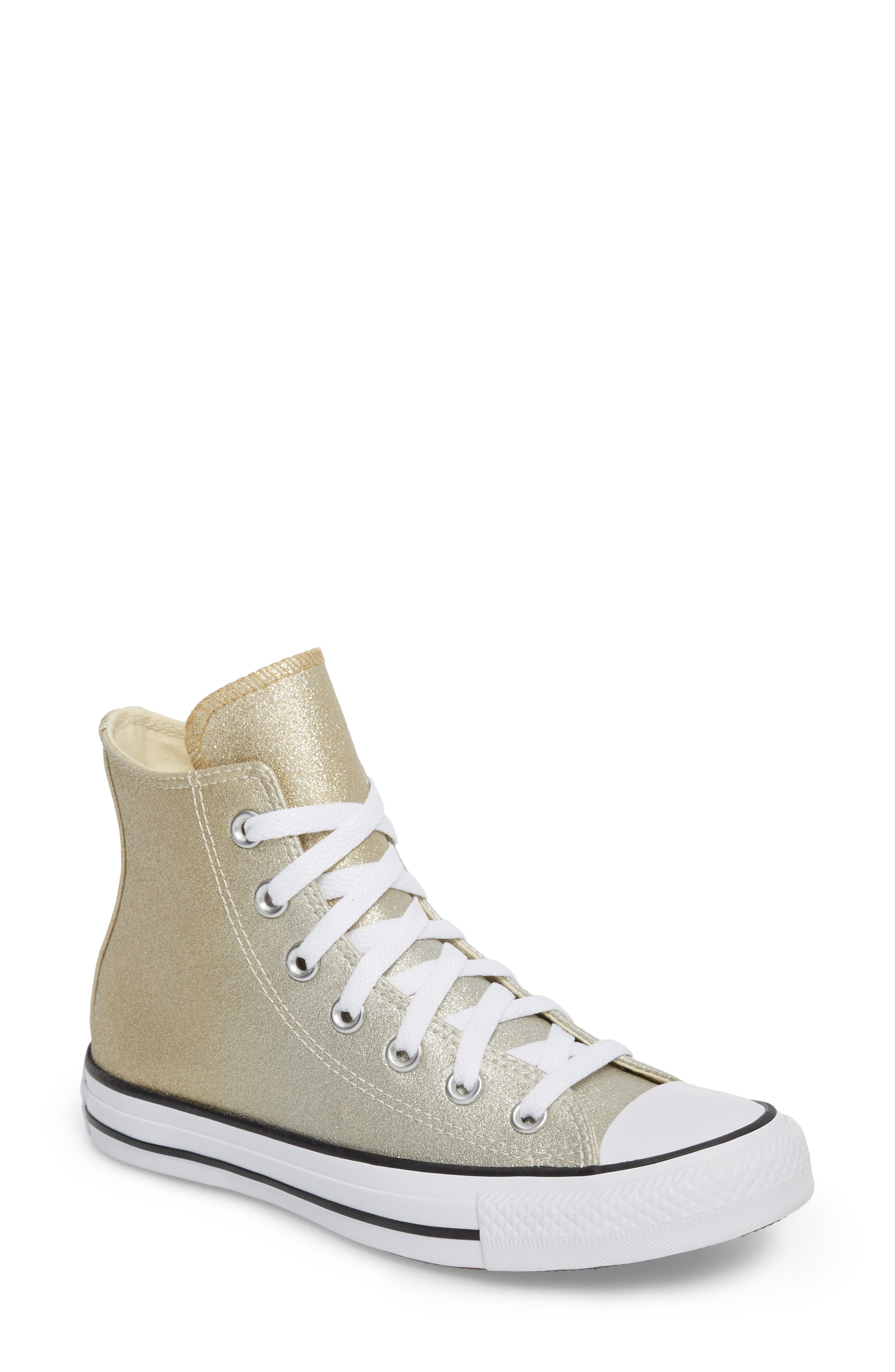 Chuck Taylor<sup>®</sup> All Star<sup>®</sup> Ombré Metallic High Top Sneaker,                         Main,                         color, Light Gold