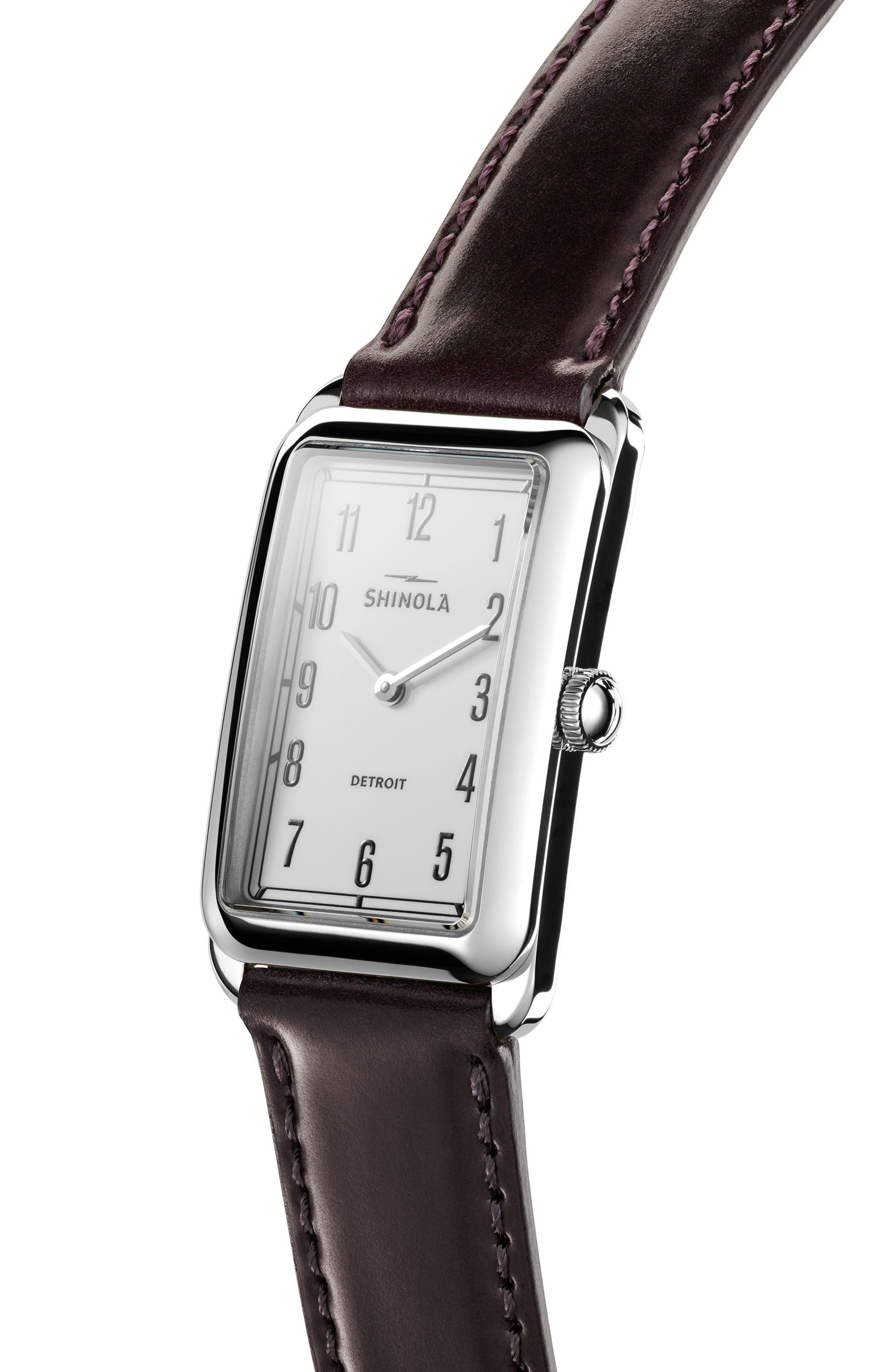 Alternate Image 4  - Shinola The Muldowney Rectangular Leather Strap Watch, 24mm x 32mm