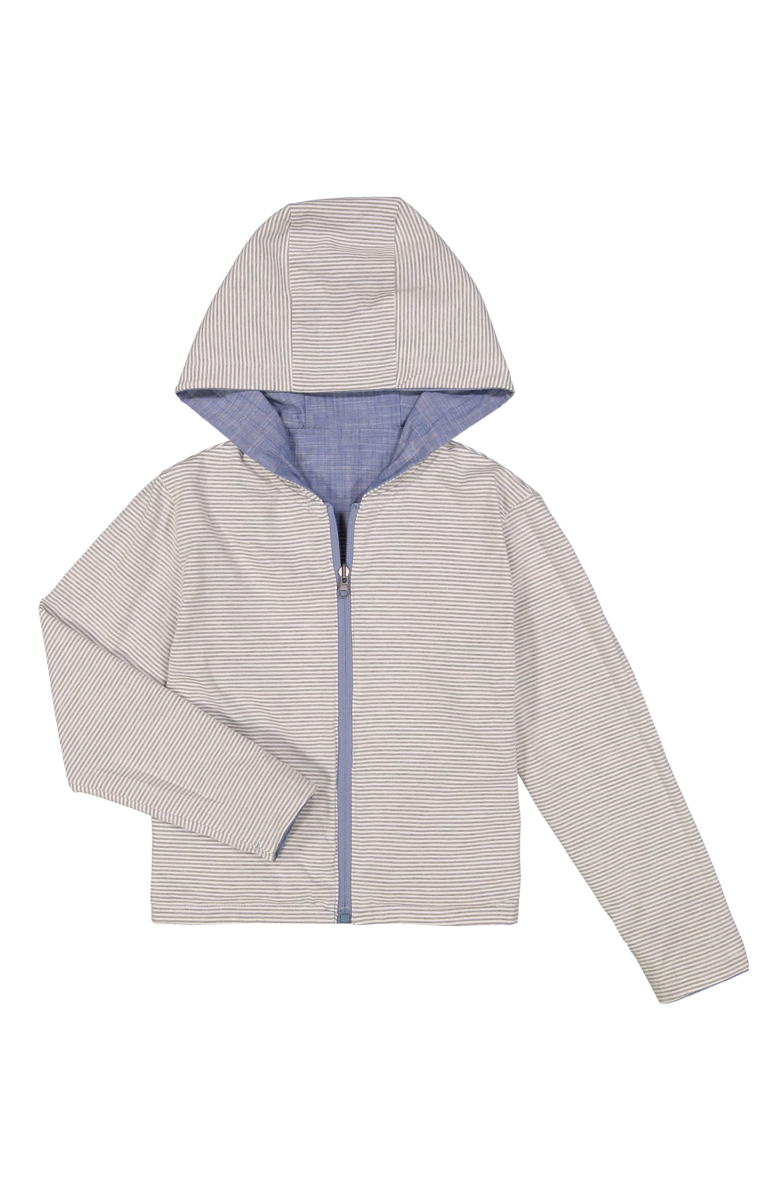 Water Resistant Reversible Hooded Jacket,                             Alternate thumbnail 2, color,                             Blue