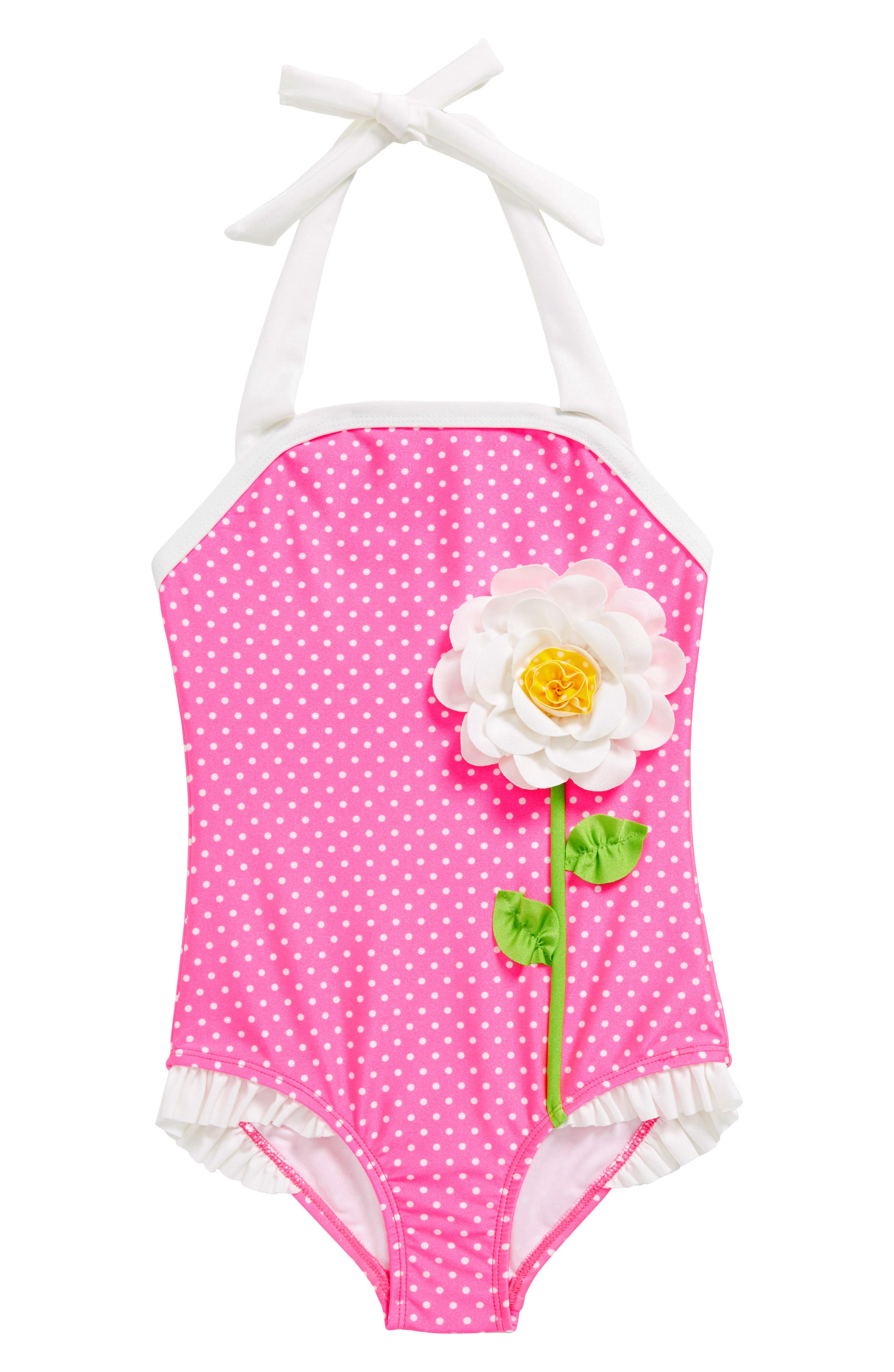 Main Image - Love U Lots Dot Print One-Piece Halter Swimsuit (Toddler Girls & Little Girls)