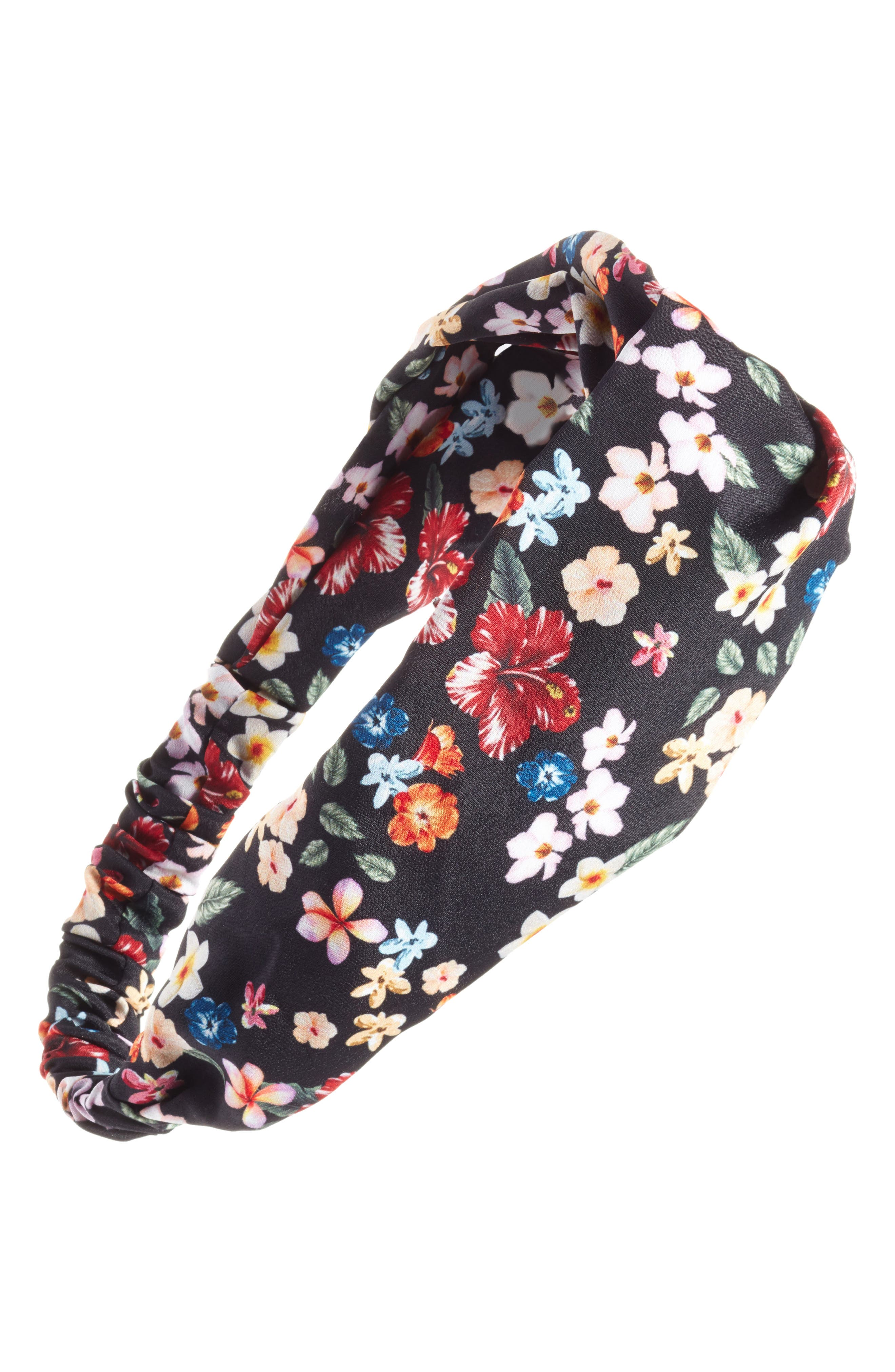 Floral Print Head Wrap,                             Main thumbnail 1, color,                             Black Multi