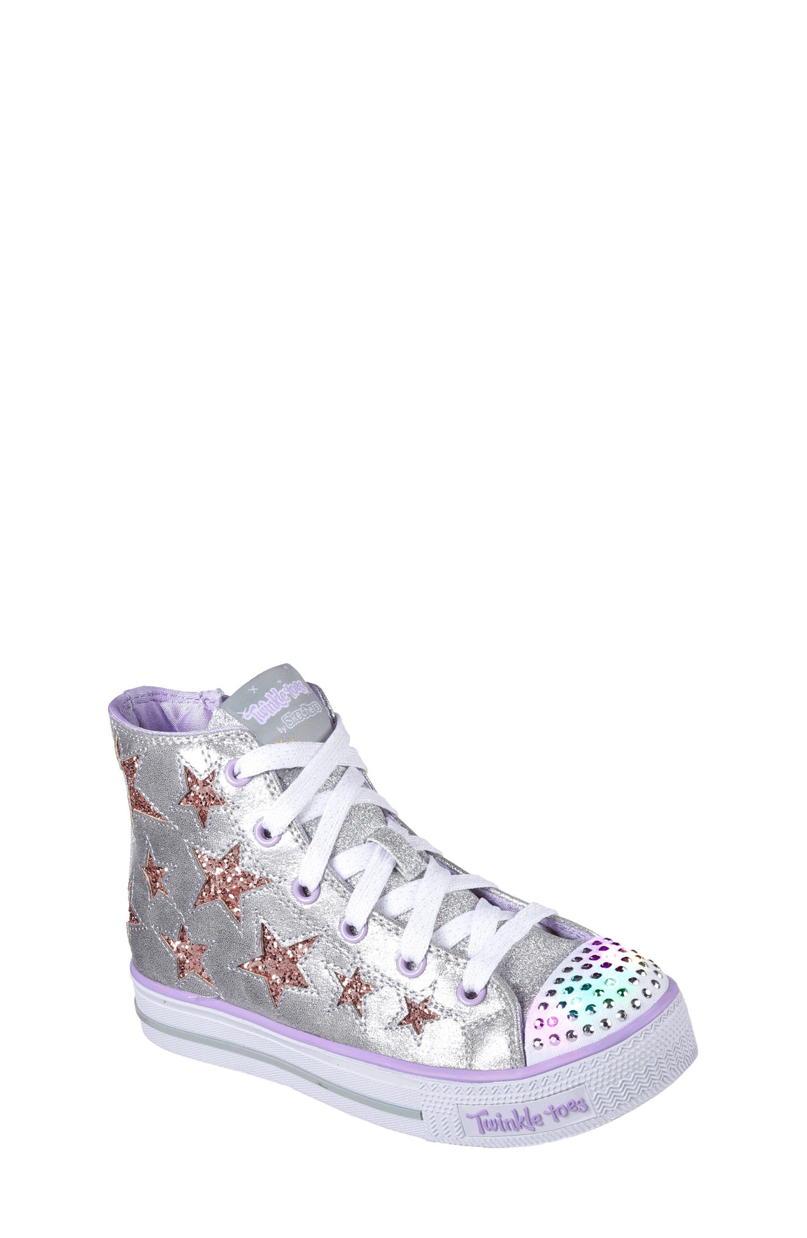 Shuffles Glitter Light-Up Sneaker,                             Alternate thumbnail 2, color,                             Silver/ Lavender