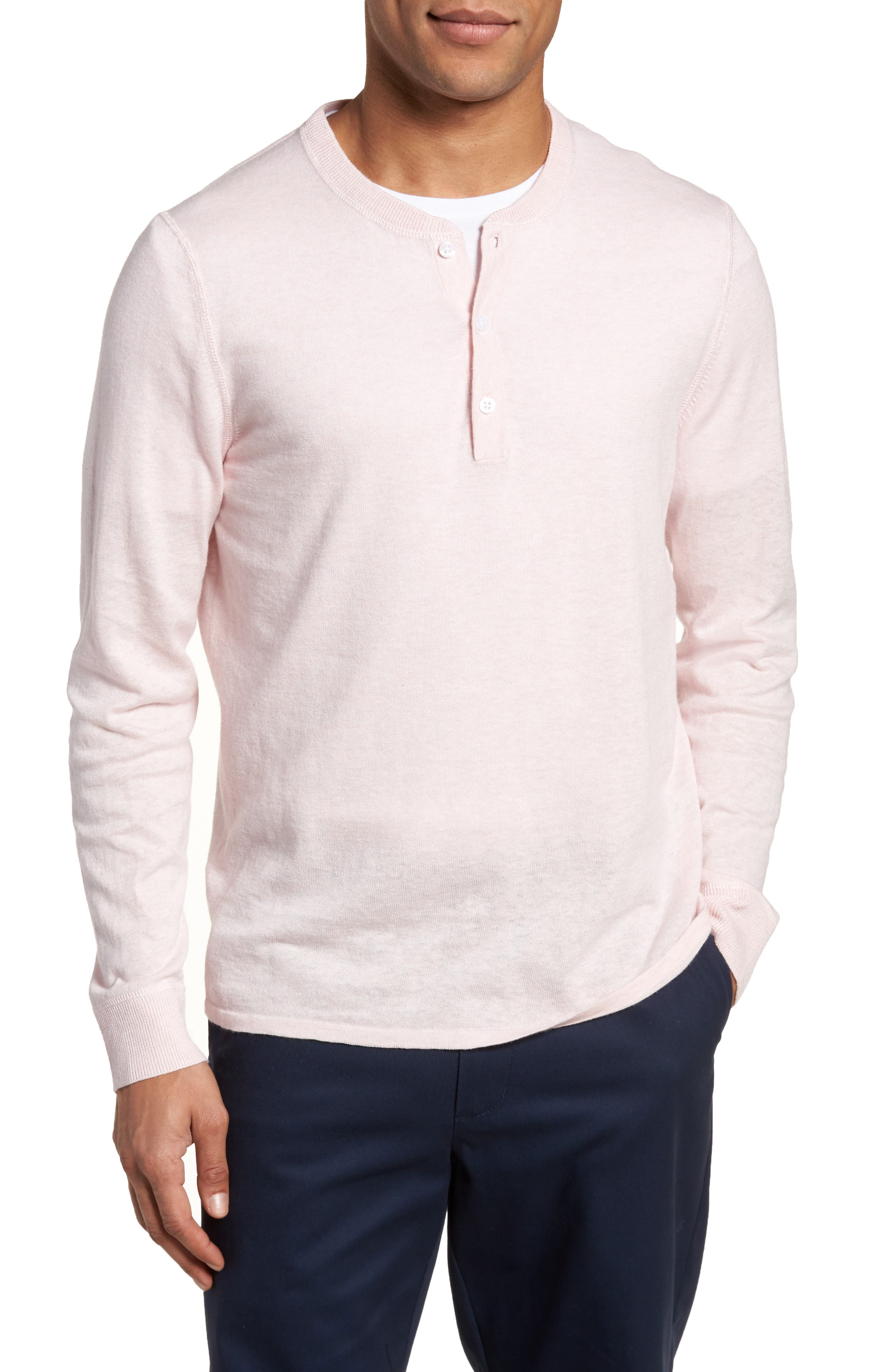 Nordstrom Men's Shop Long Sleeve Cotton & Linen Blend Henley