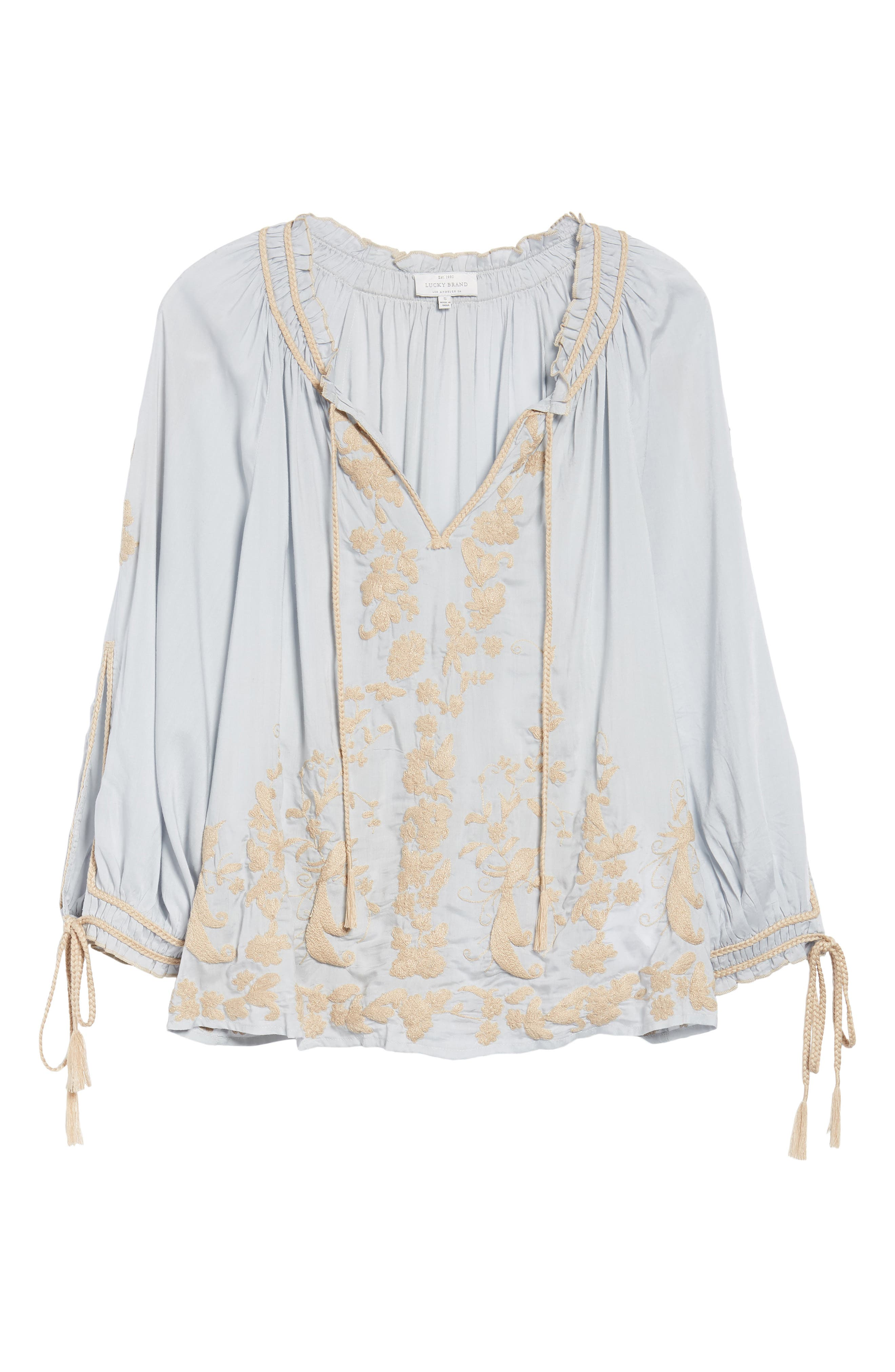 Embroidered Peasant Top,                             Alternate thumbnail 6, color,                             Ice Blue
