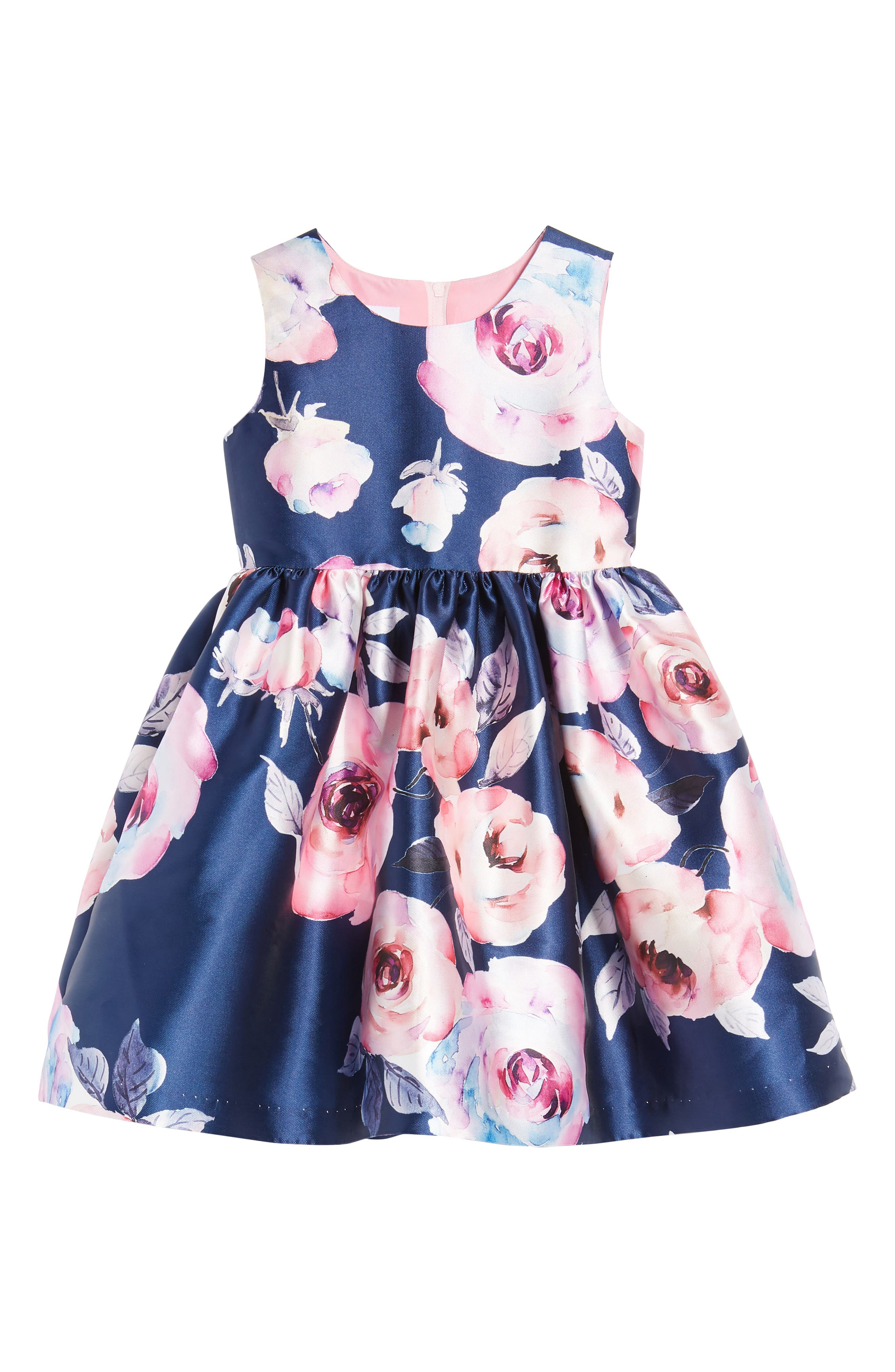 Floral Party Dress,                             Main thumbnail 1, color,                             Navy/ Pink