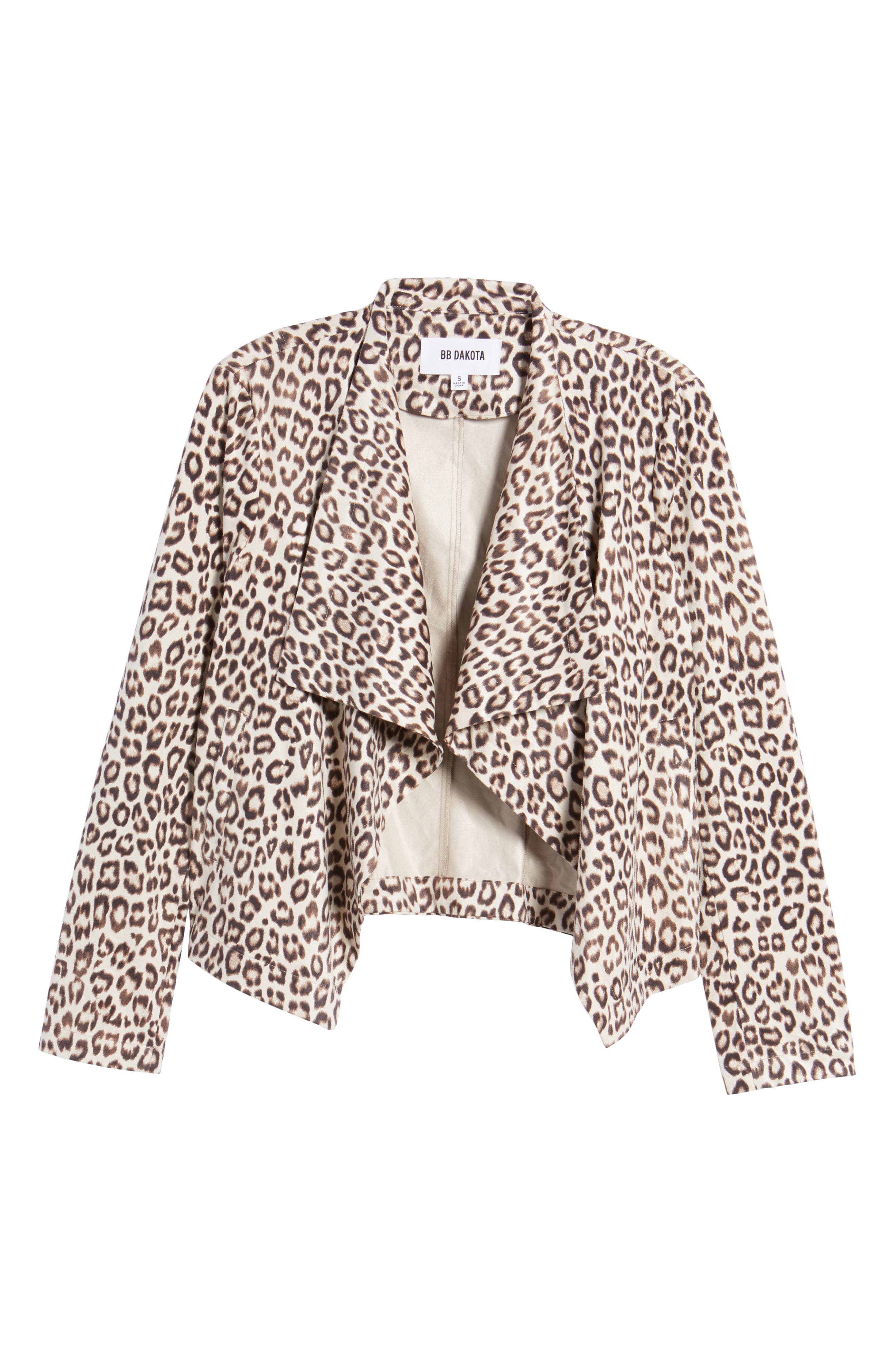 Aleah Leopard Print Faux Suede Drape Front Jacket,                             Alternate thumbnail 6, color,                             Light Tan