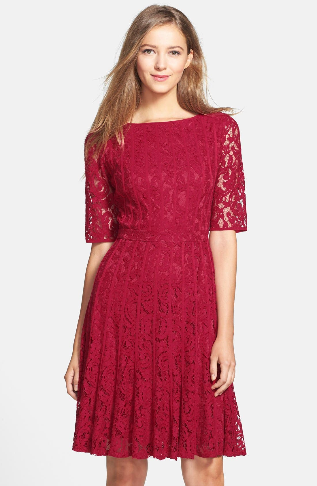 Alternate Image 1 Selected - Adrianna Papell Lace Fit & Flare Dress (Petite)