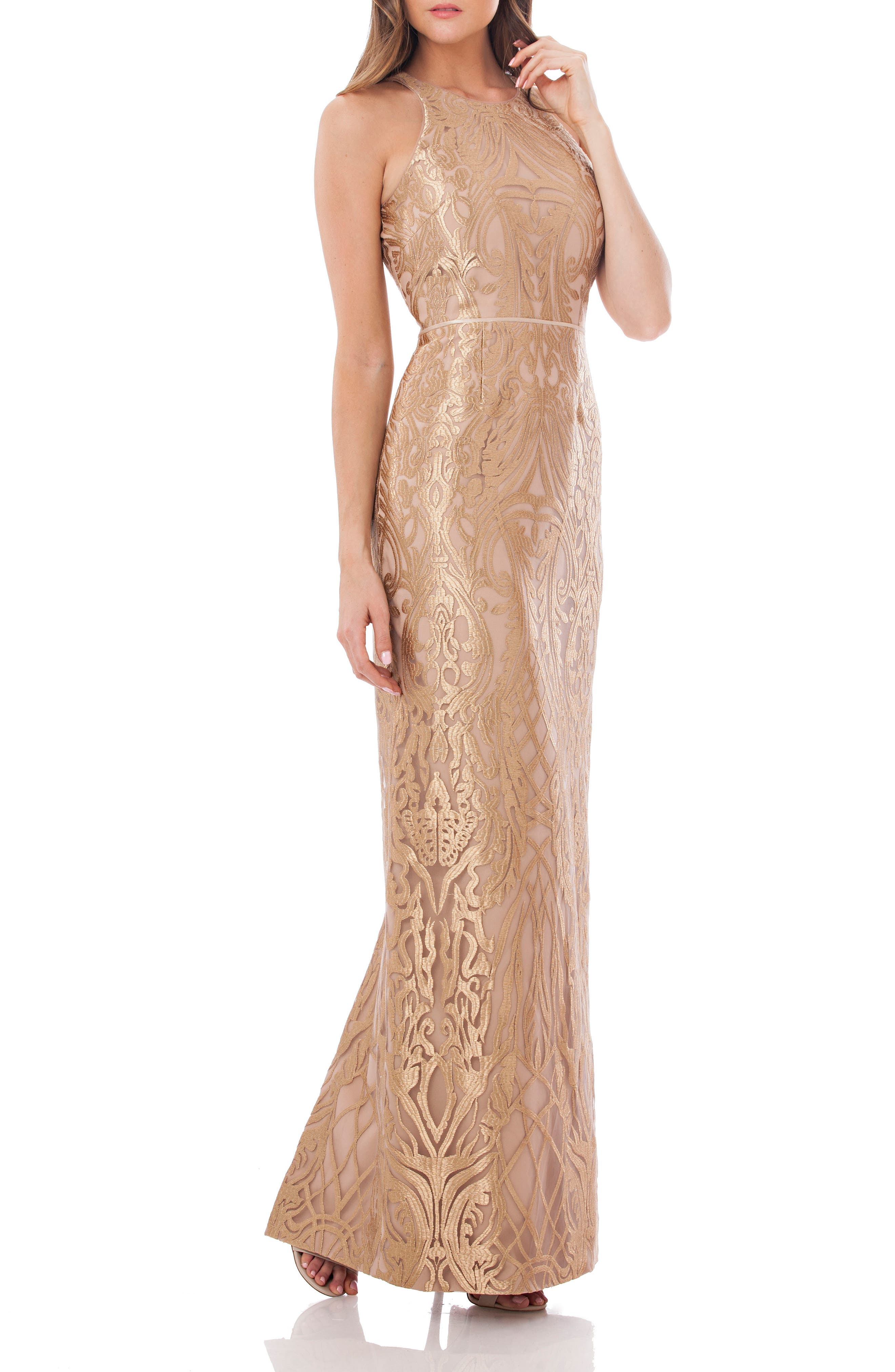Metallic Embroidered Halter Gown,                         Main,                         color, Gold