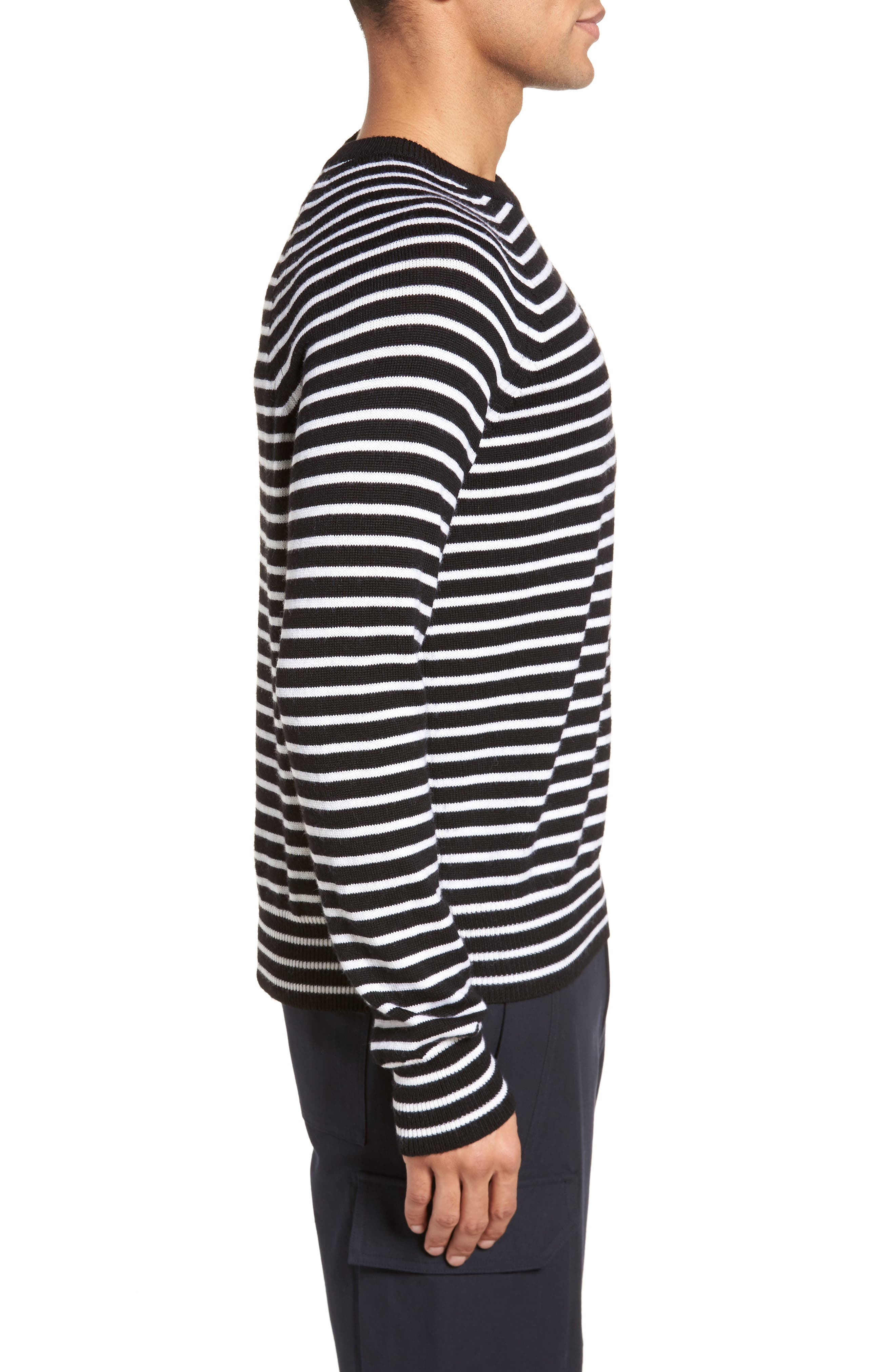 Regular Fit Striped Wool Sweater,                             Alternate thumbnail 3, color,                             Black/ Stormy White