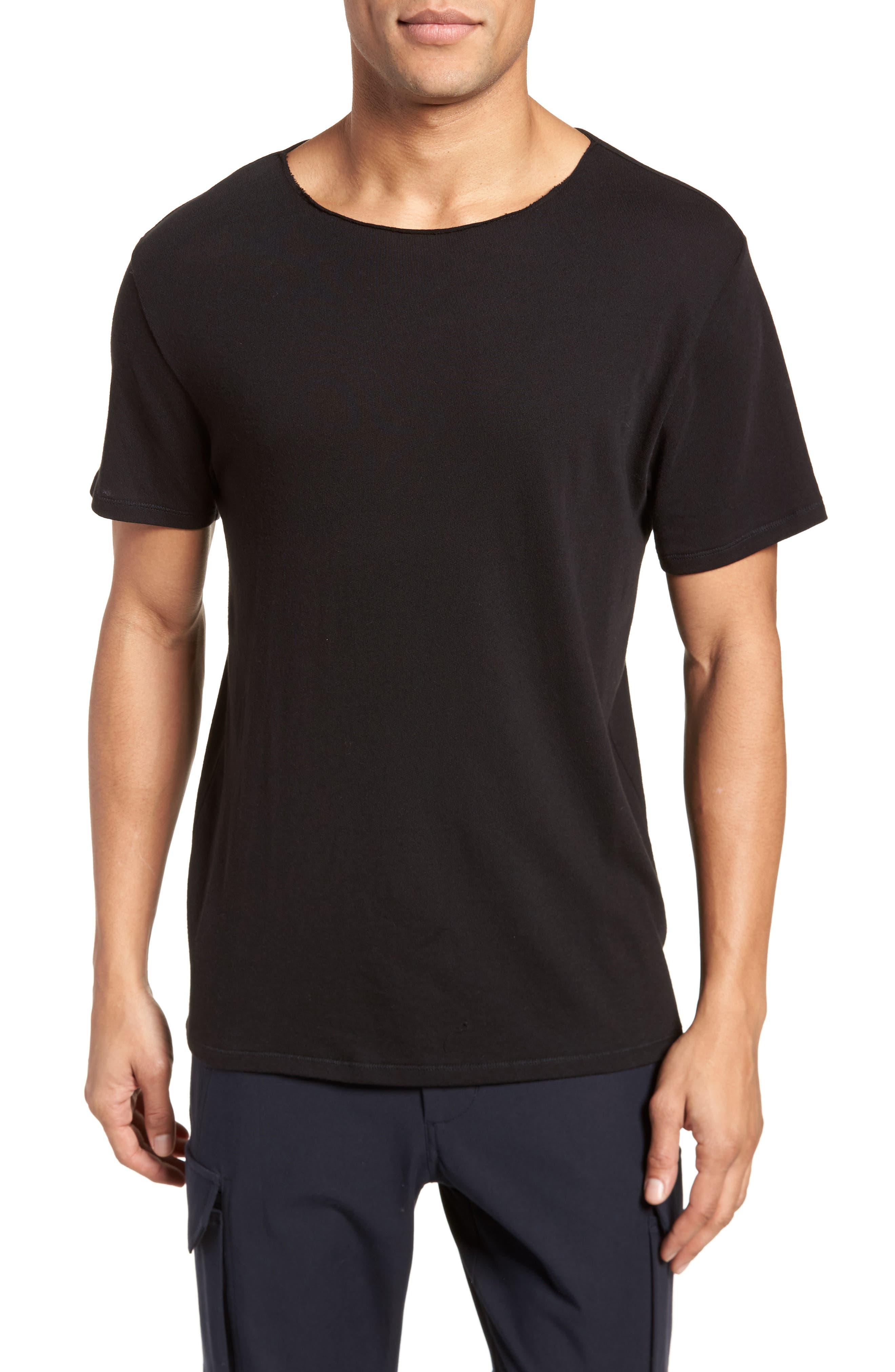 Raw Edge T-Shirt,                         Main,                         color, Black