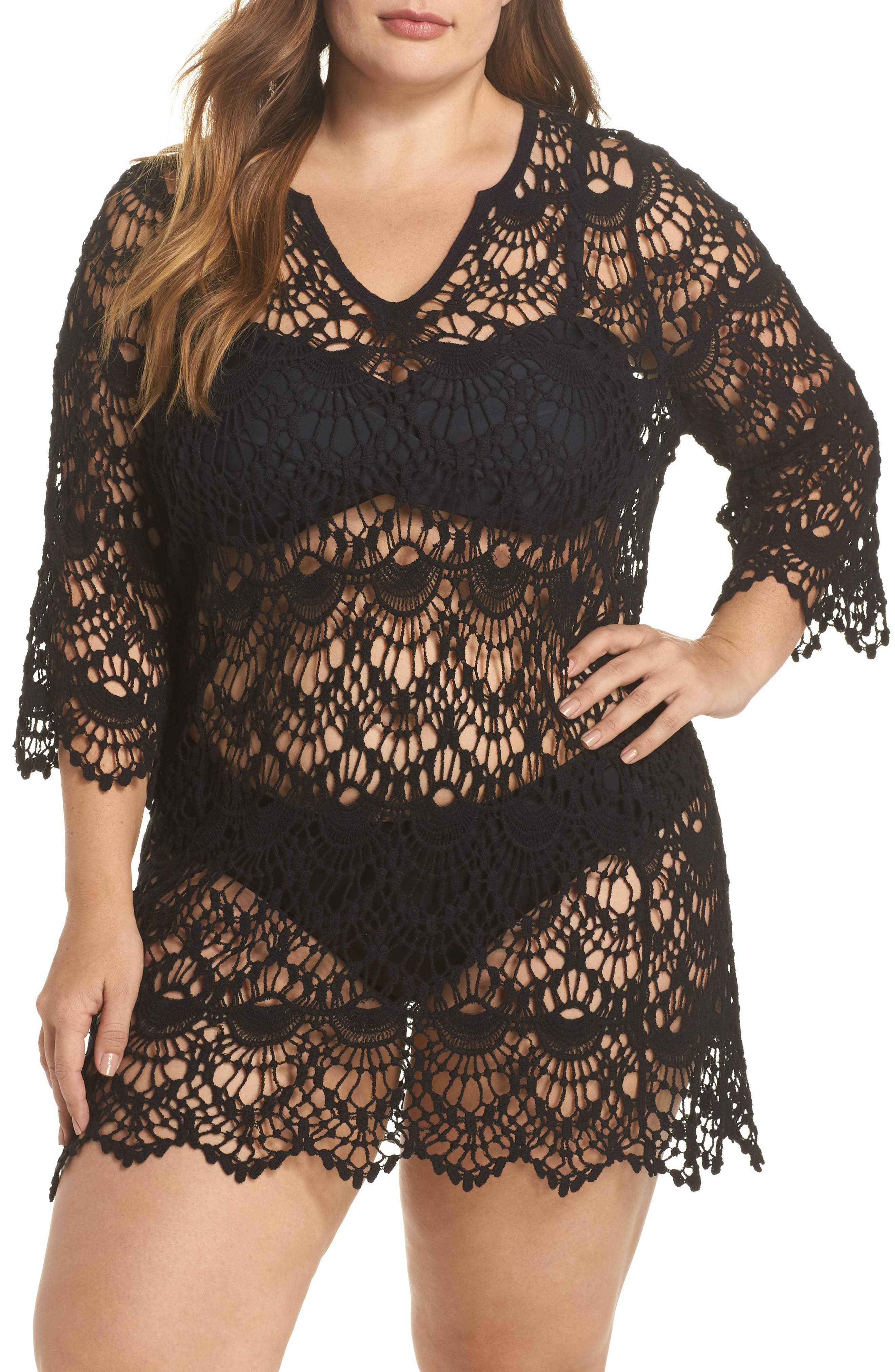 Main Image - Surf Gypsy Crochet Cover-Up Tunic (Plus Size)