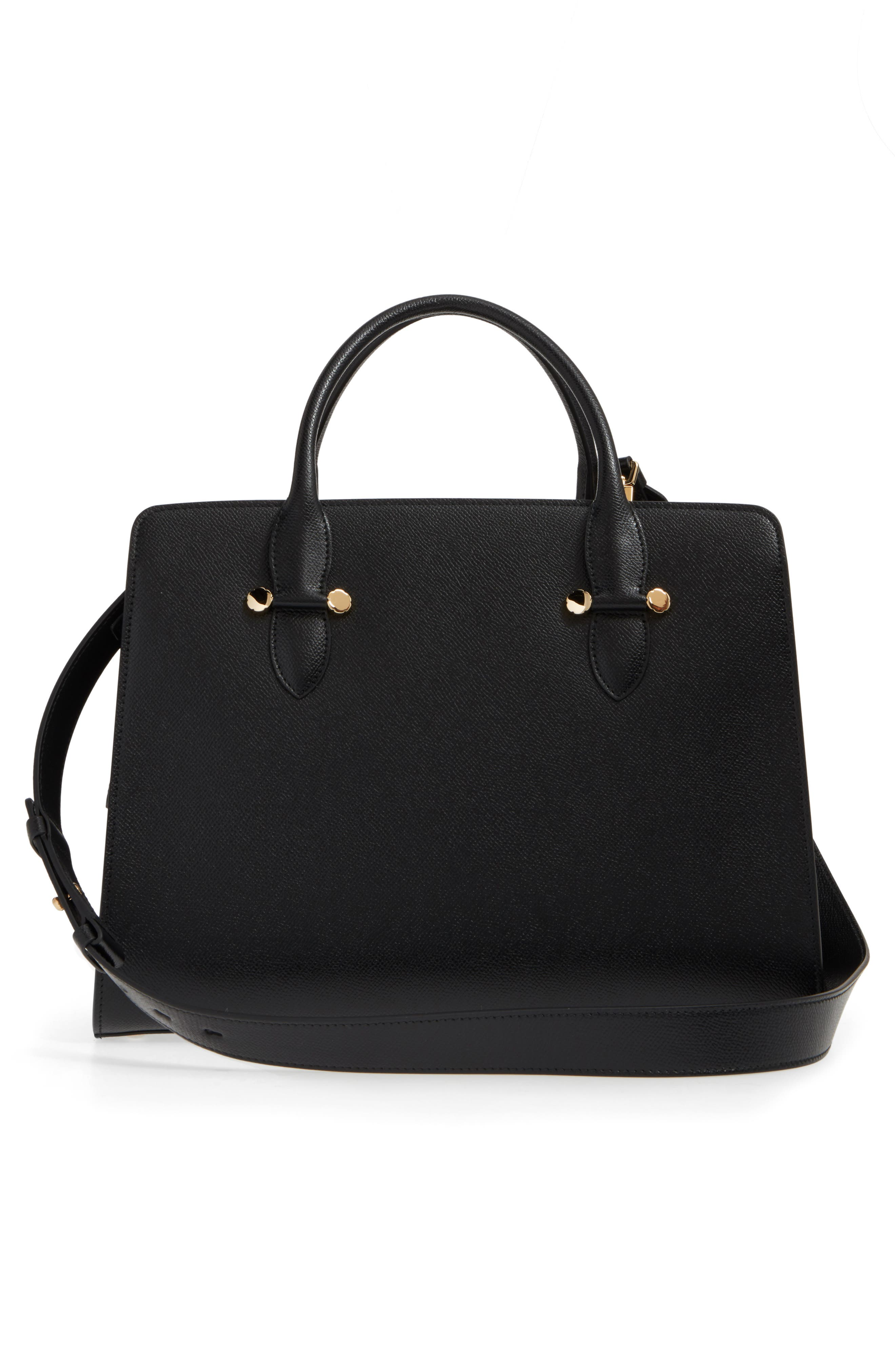 Small Today Leather Satchel,                             Alternate thumbnail 3, color,                             Nero