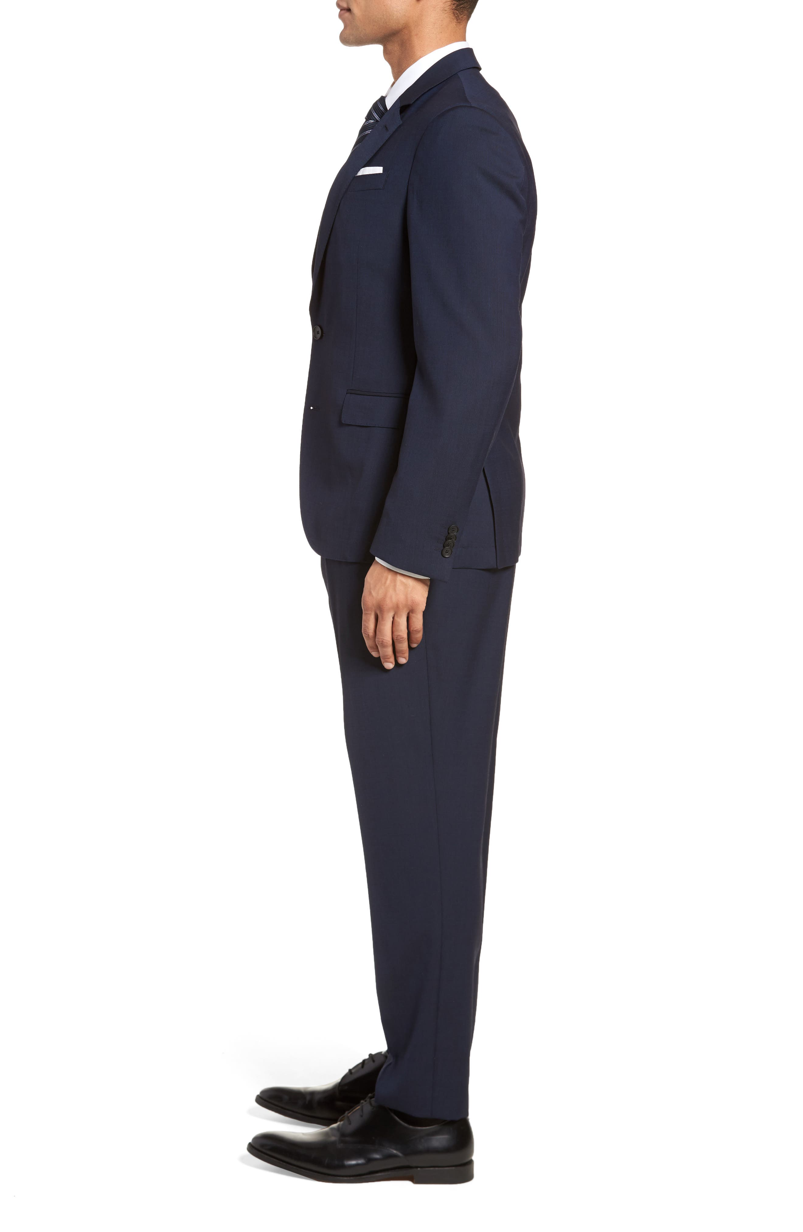 Nylen/Perry Trim Fit Solid Wool Suit,                             Alternate thumbnail 3, color,                             Navy