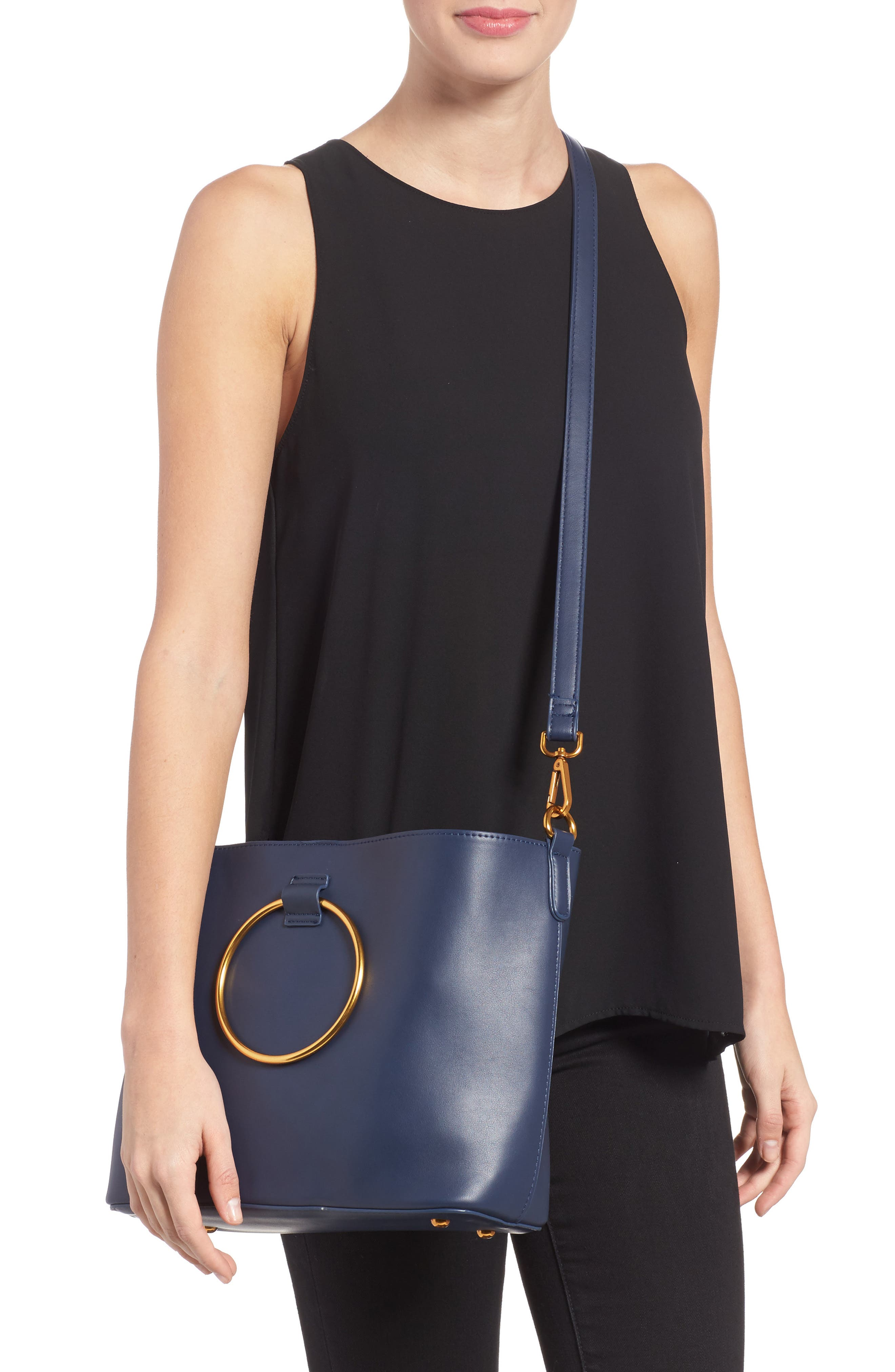 Alternate Image 2  - Street Level Ring Handle Faux Leather Tote & Zip Pouch