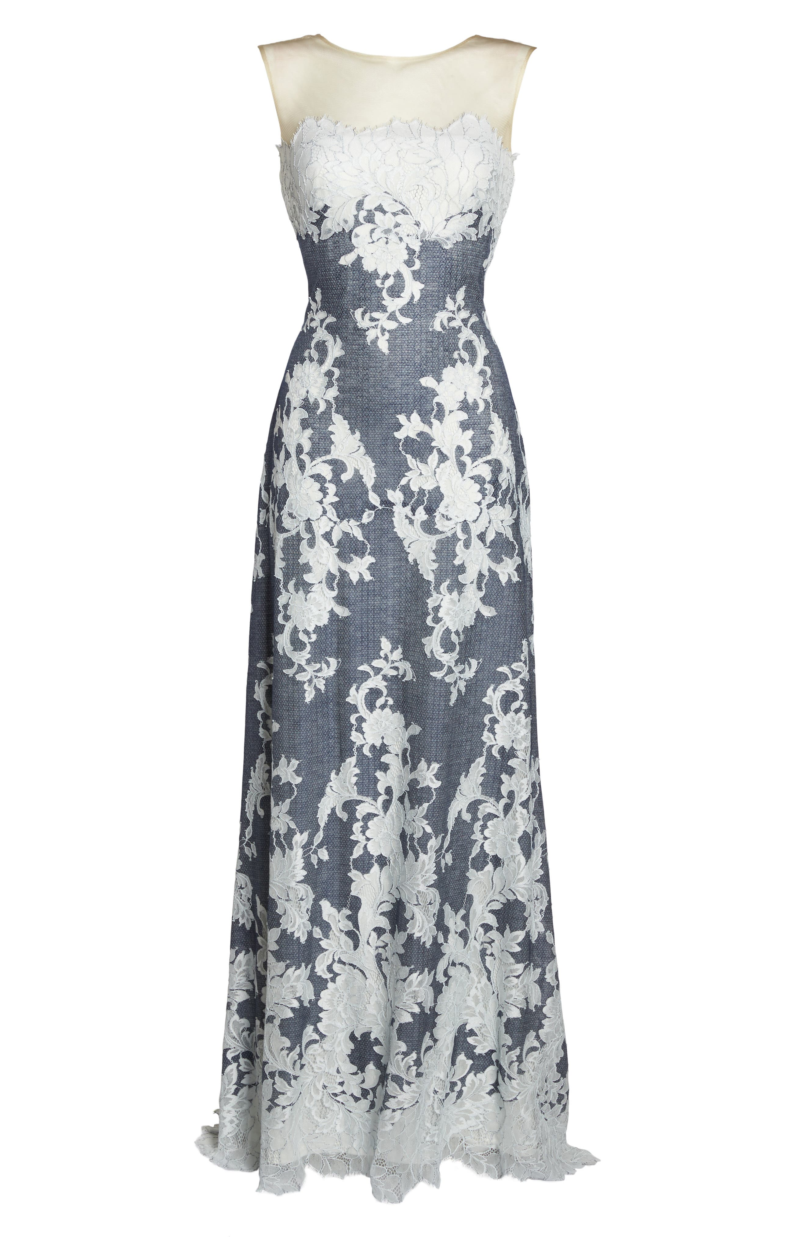 Illusion Neck Embroidered Gown,                             Alternate thumbnail 6, color,                             Navy/ Ivory