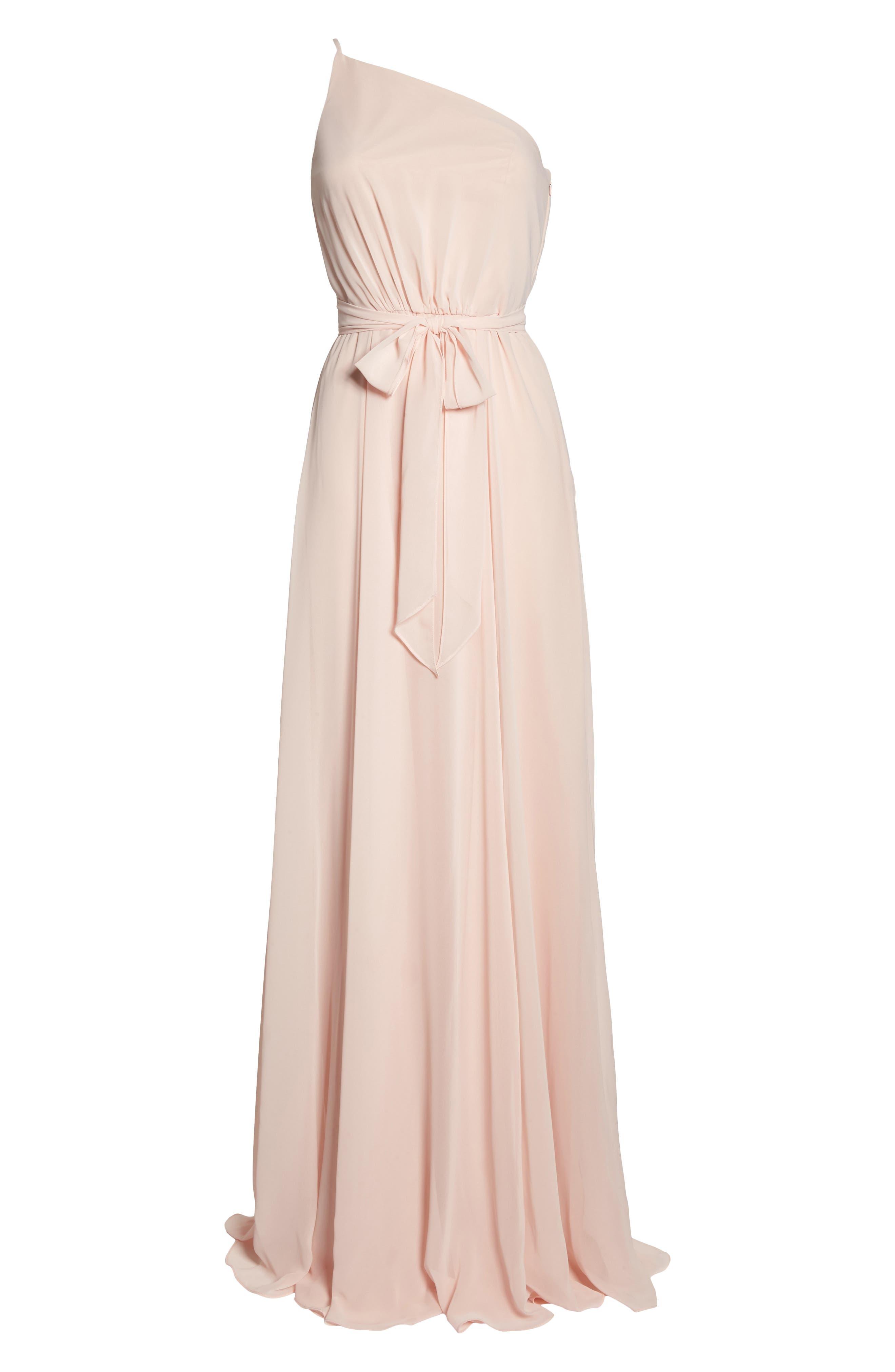 Alternate Image 6  - Amsale One-Shoulder Chiffon A-Line Gown