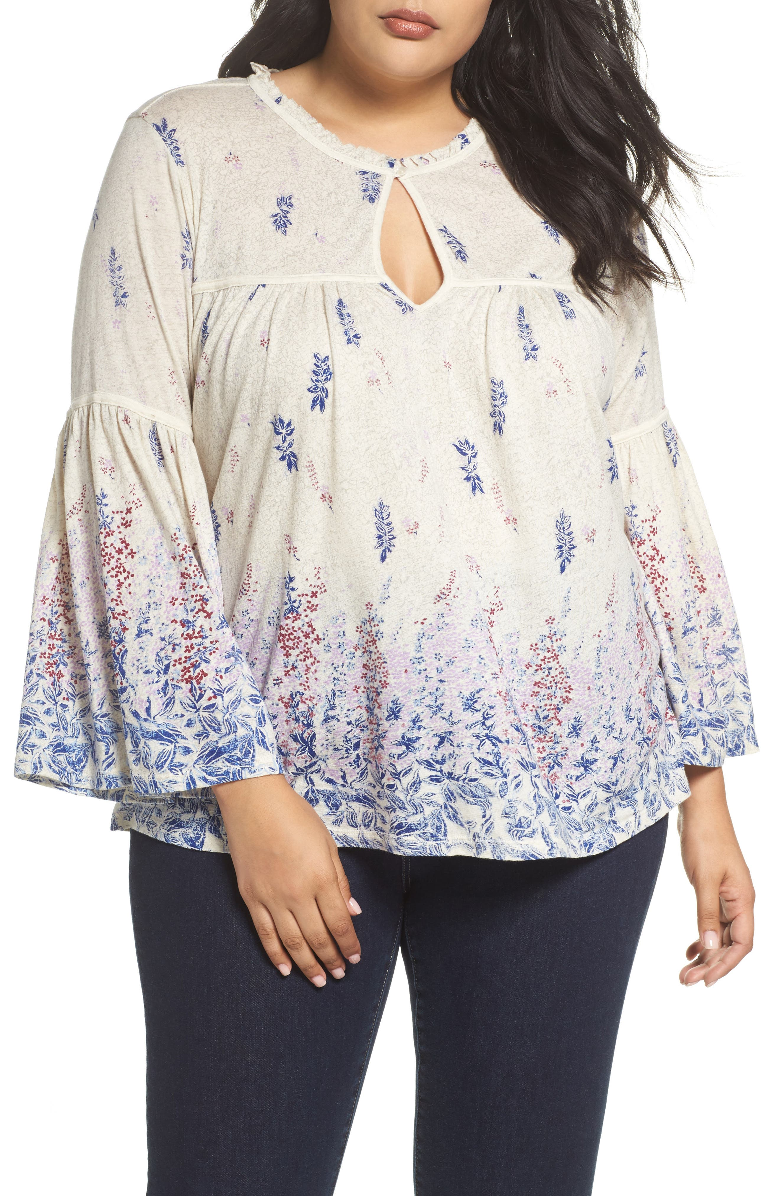Alternate Image 1 Selected - Lucky Brand Border Print Peasant Blouse (Plus Size)