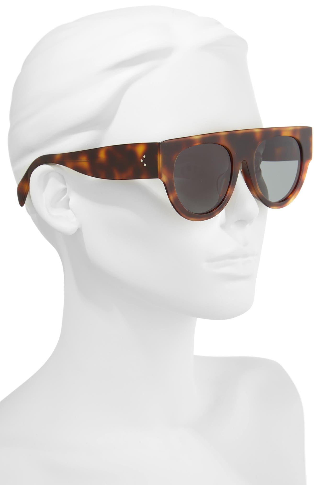 52mm Pilot Sunglasses,                             Alternate thumbnail 2, color,                             Blonde Havana/ Green