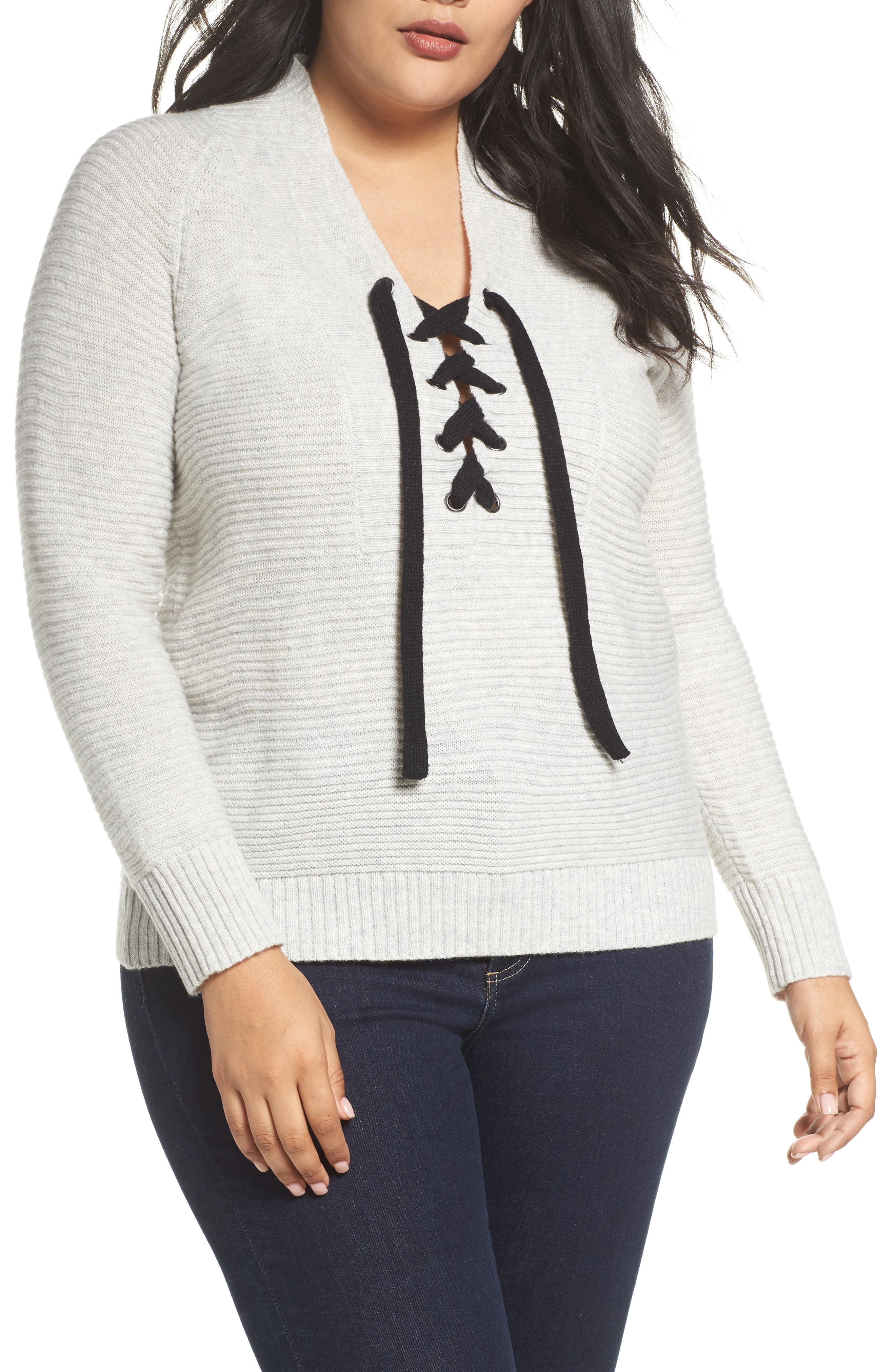 Main Image - Lucky Brand Lace-Up Sweater (Plus Size)