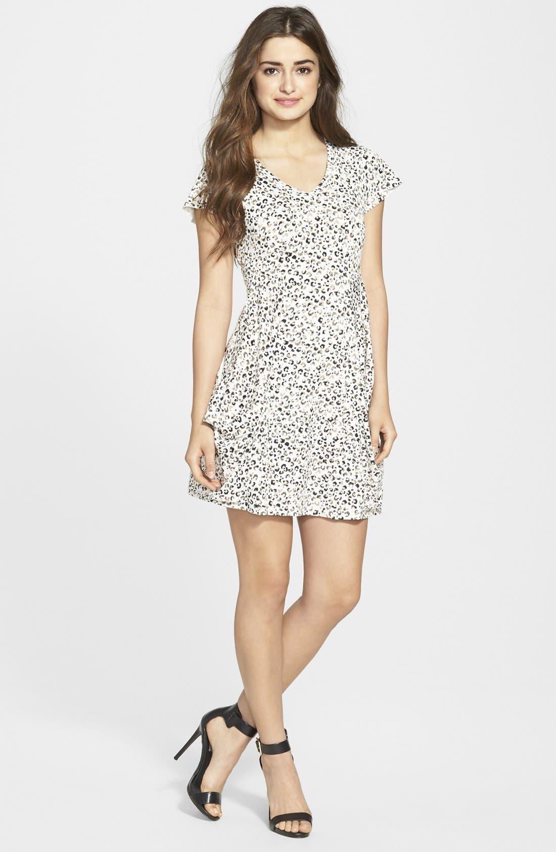 Alternate Image 1 Selected - kensie Cheetah Print V-Neck Dress
