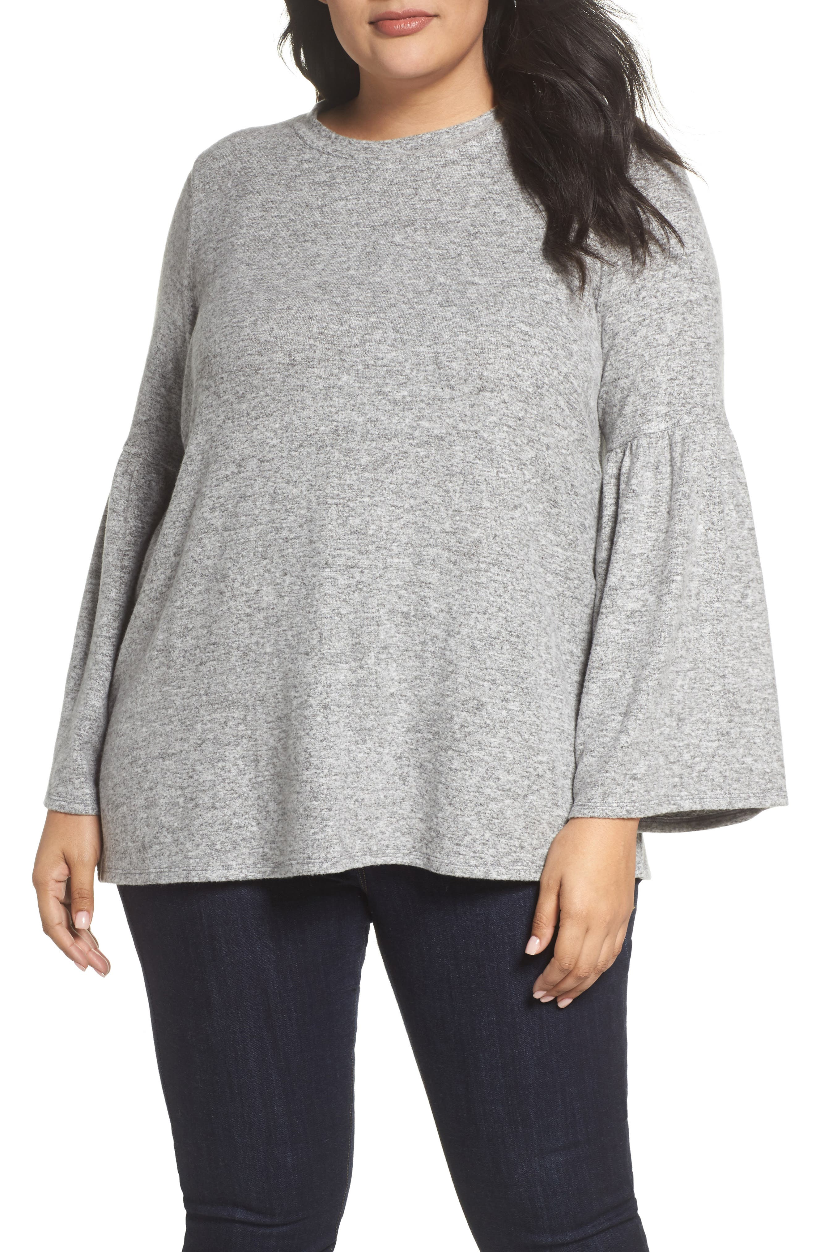 Bell Sleeve Cozy Pullover,                         Main,                         color, H Grey