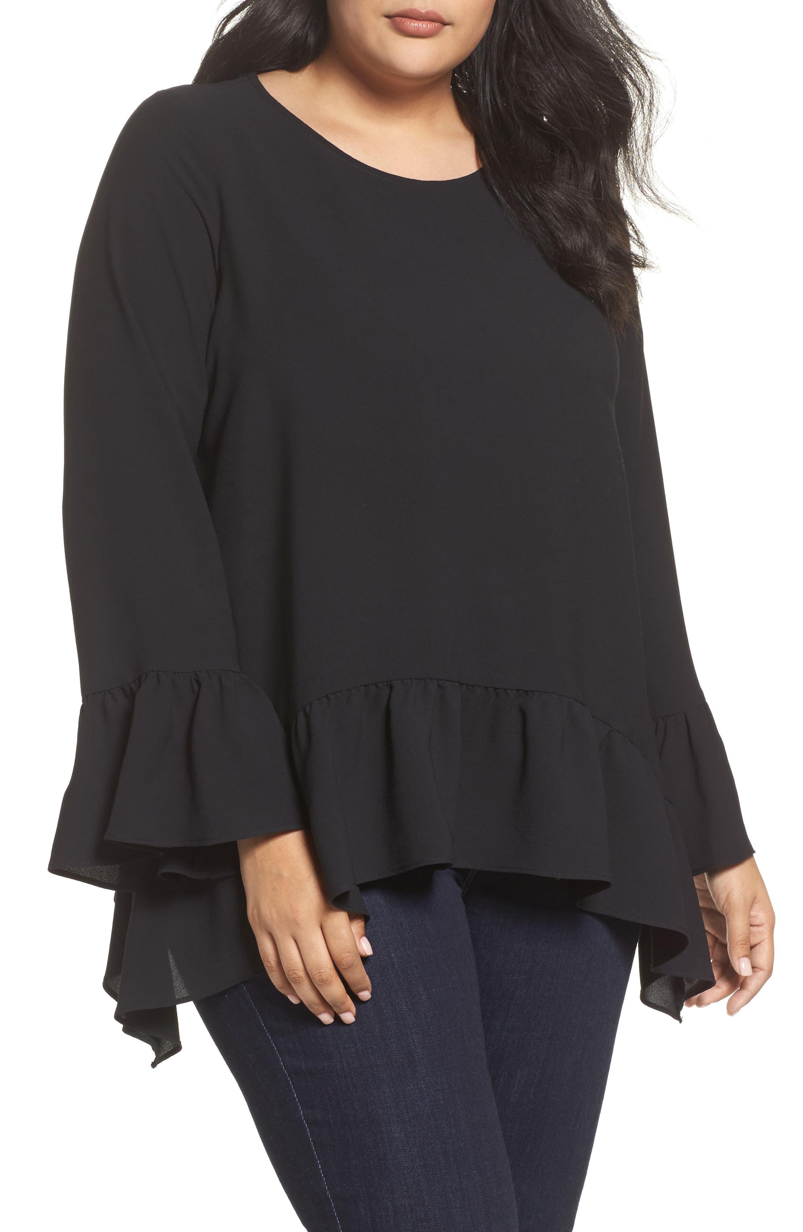 Bell Sleeve Ruffle Hem Blouse,                         Main,                         color, Black