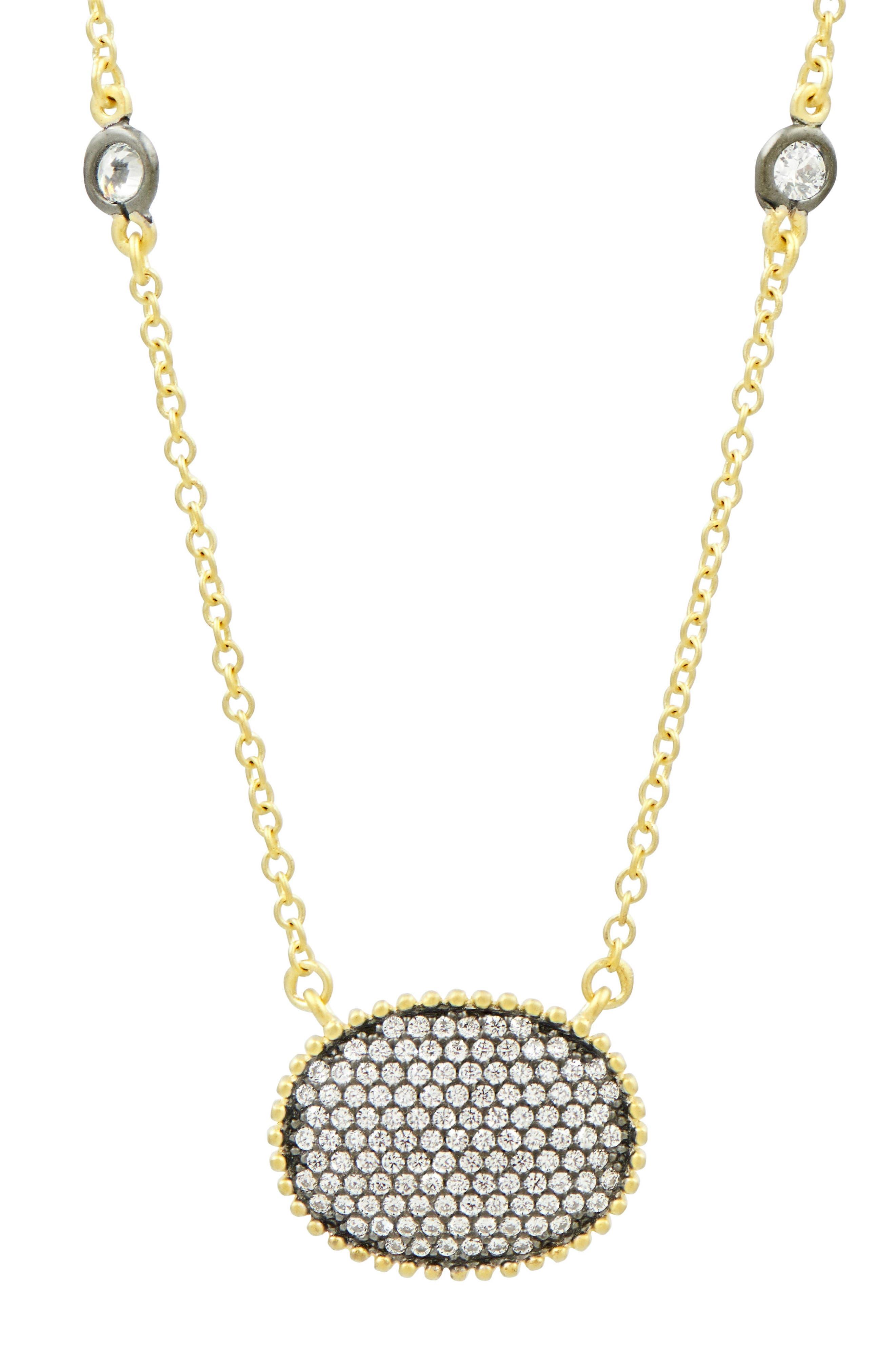 Oval Pendant Necklace,                         Main,                         color, Gold/ Black Rhodium