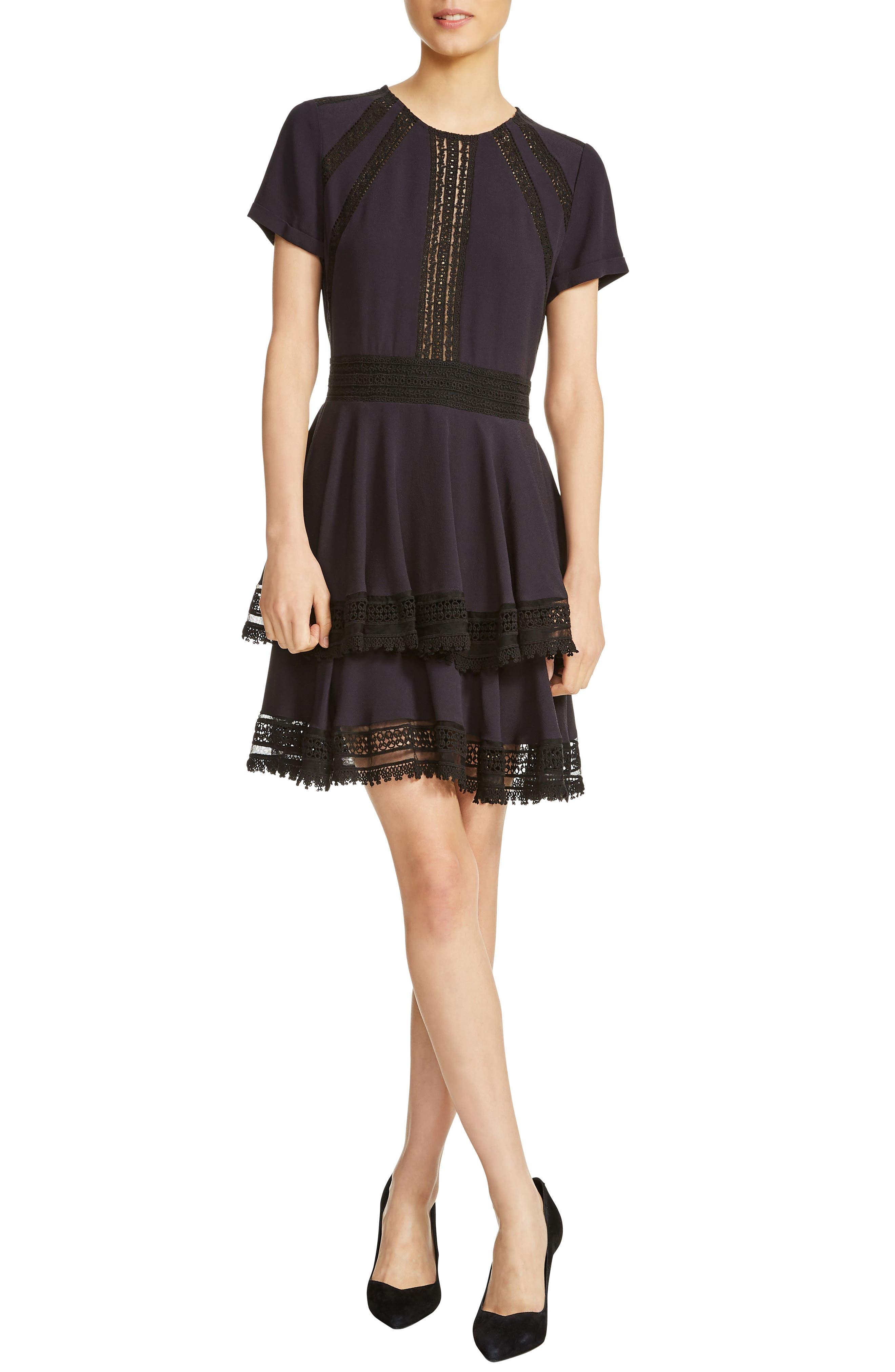 Raglia Lace Inset Mini Dress,                             Main thumbnail 1, color,                             Navy