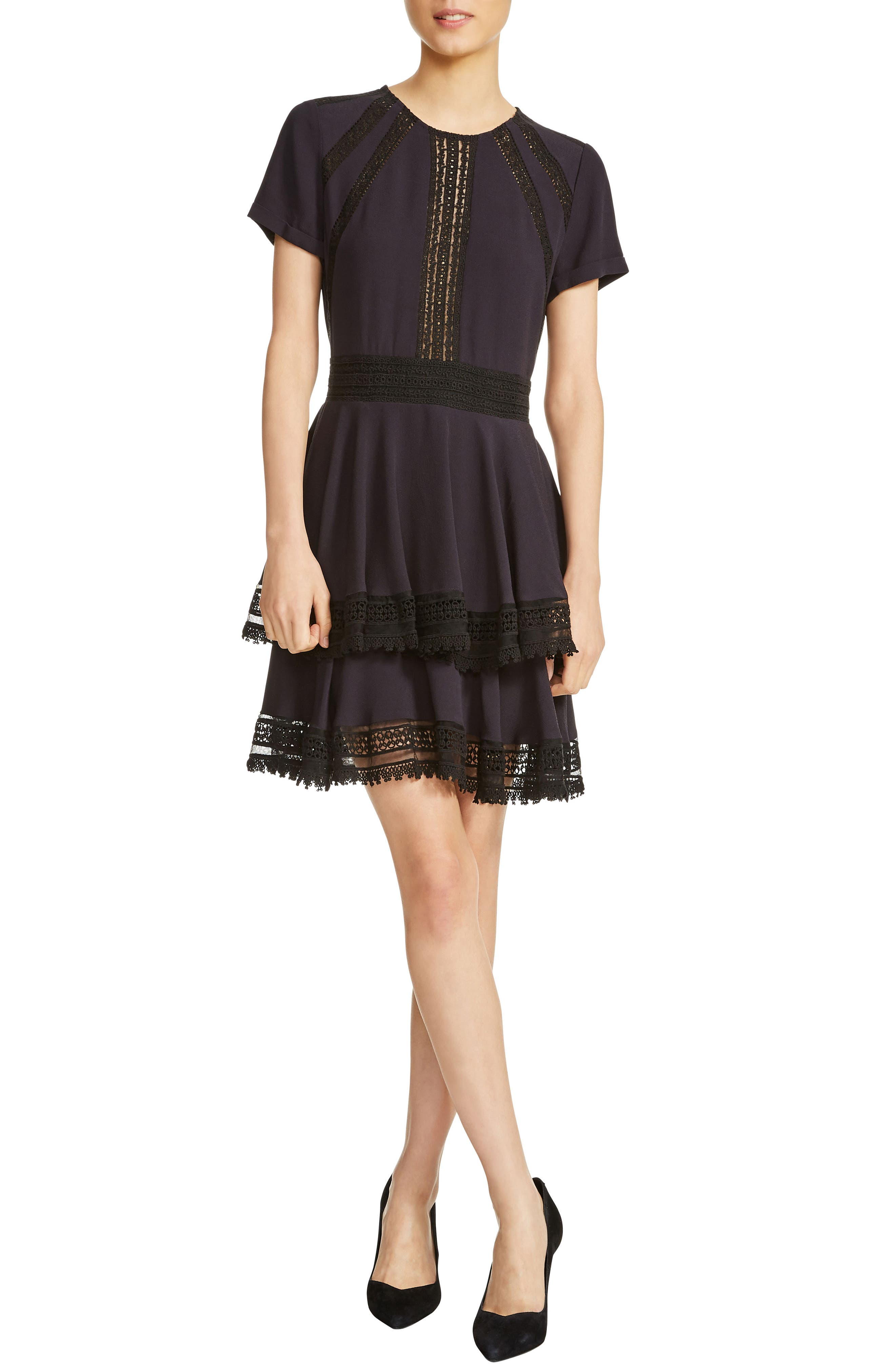 Raglia Lace Inset Mini Dress,                         Main,                         color, Navy