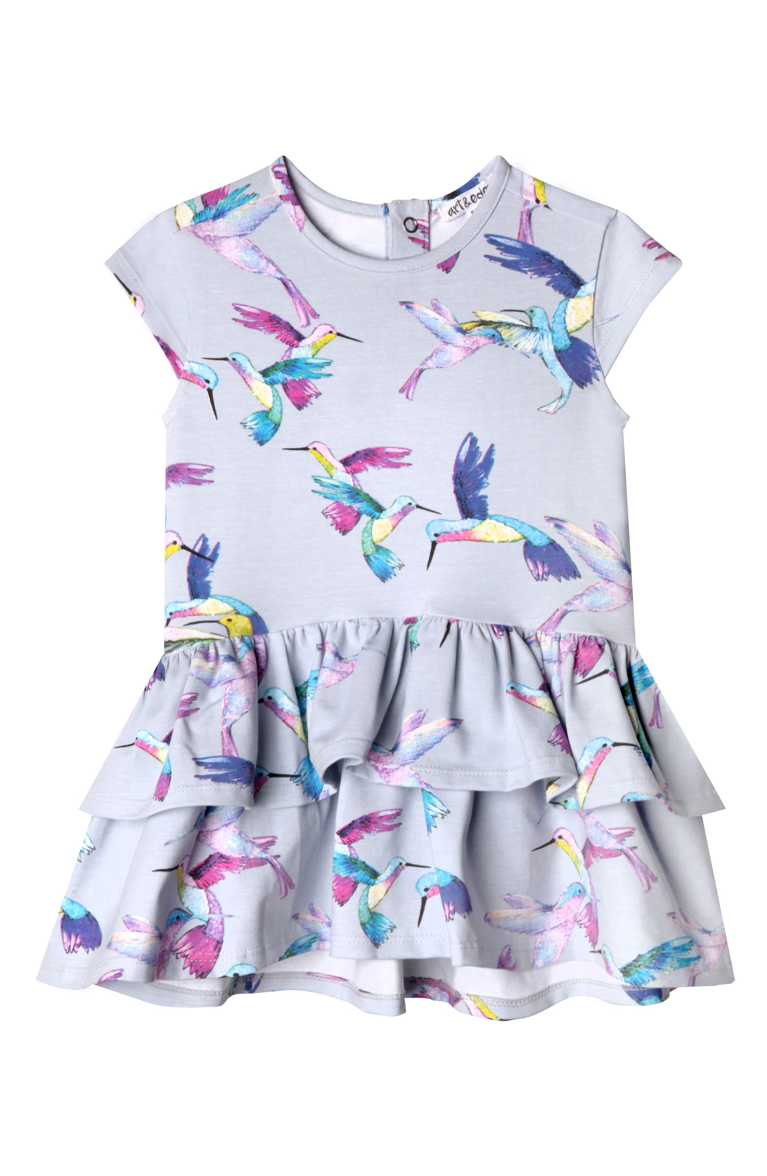 Kinsley Print Dress,                         Main,                         color, Hummingbird
