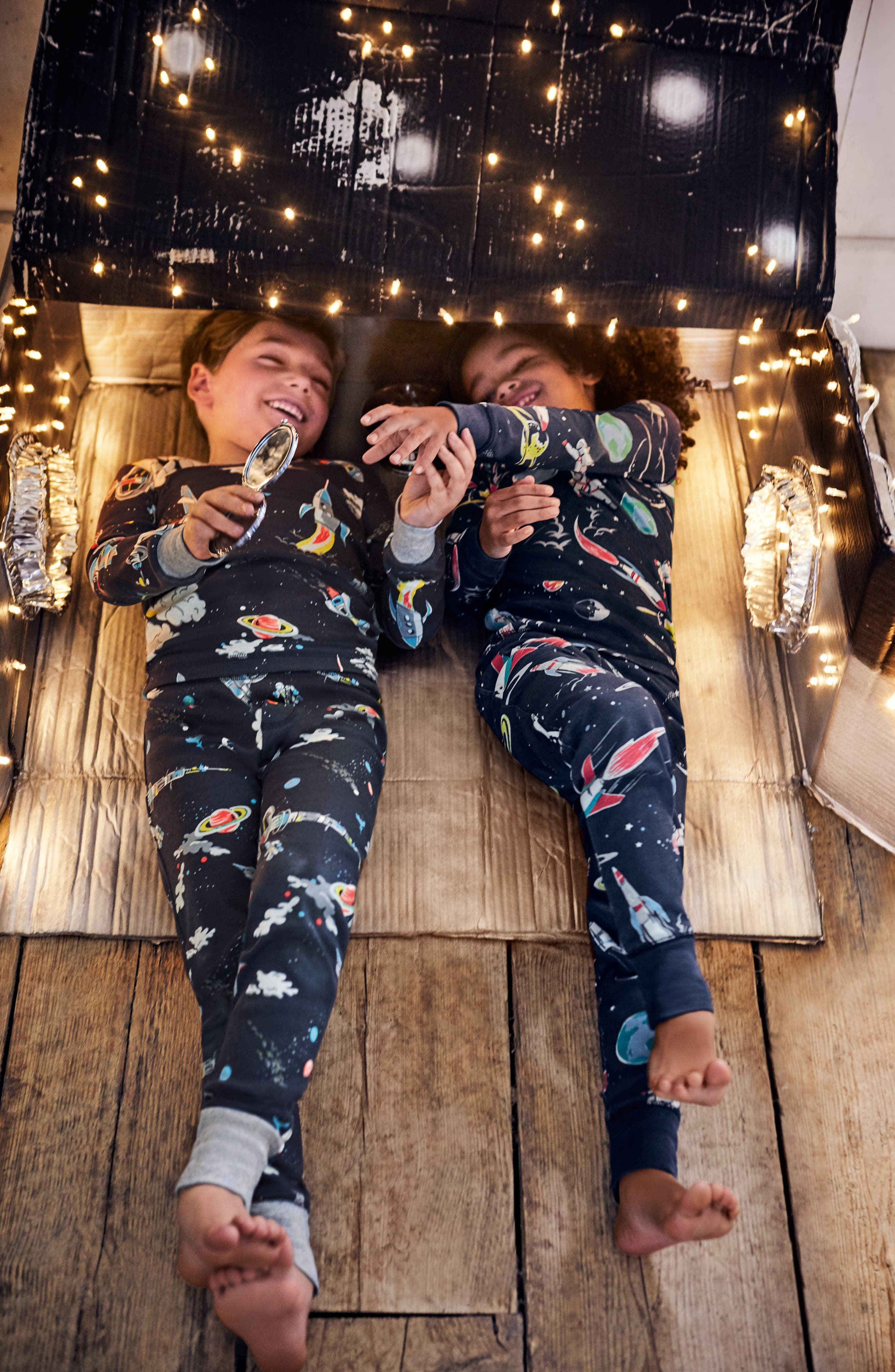 Glow in the Dark Fitted Two-Piece Pajamas,                             Alternate thumbnail 3, color,                             Asphalt Gray
