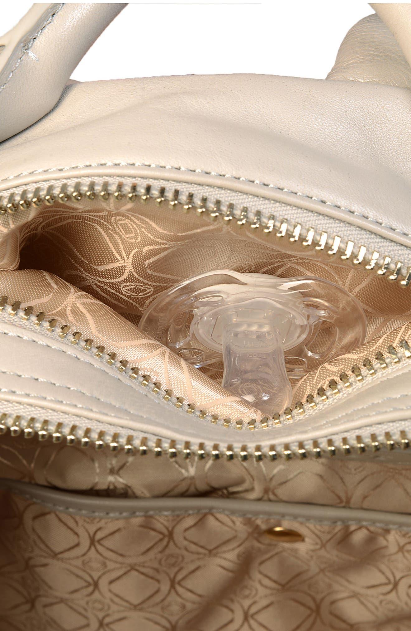 Joy XL Leather Backpack,                             Alternate thumbnail 14, color,                             Ice Grey