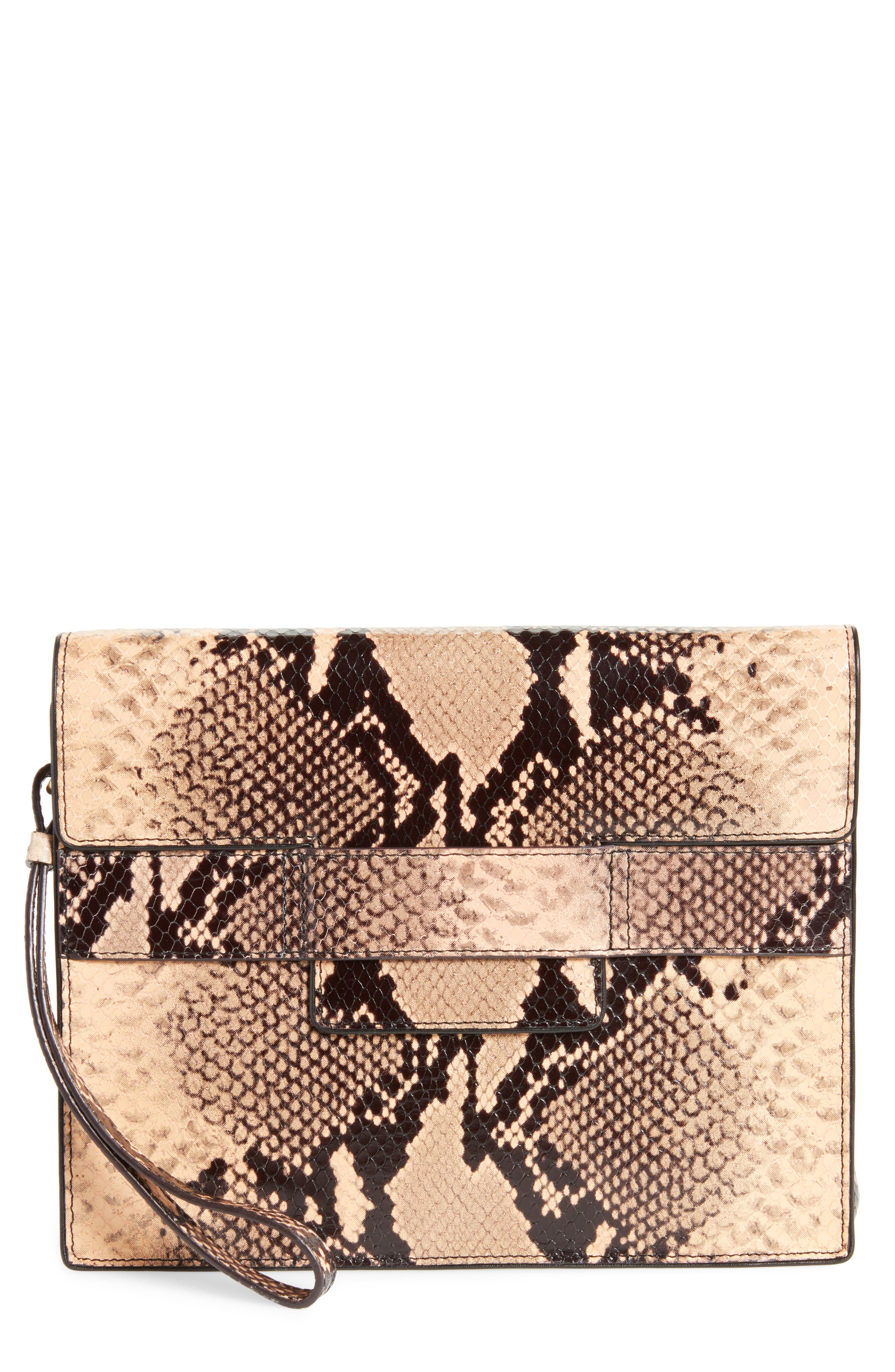 Snake Embossed Leather Wristlet Clutch,                             Main thumbnail 1, color,                             Camel