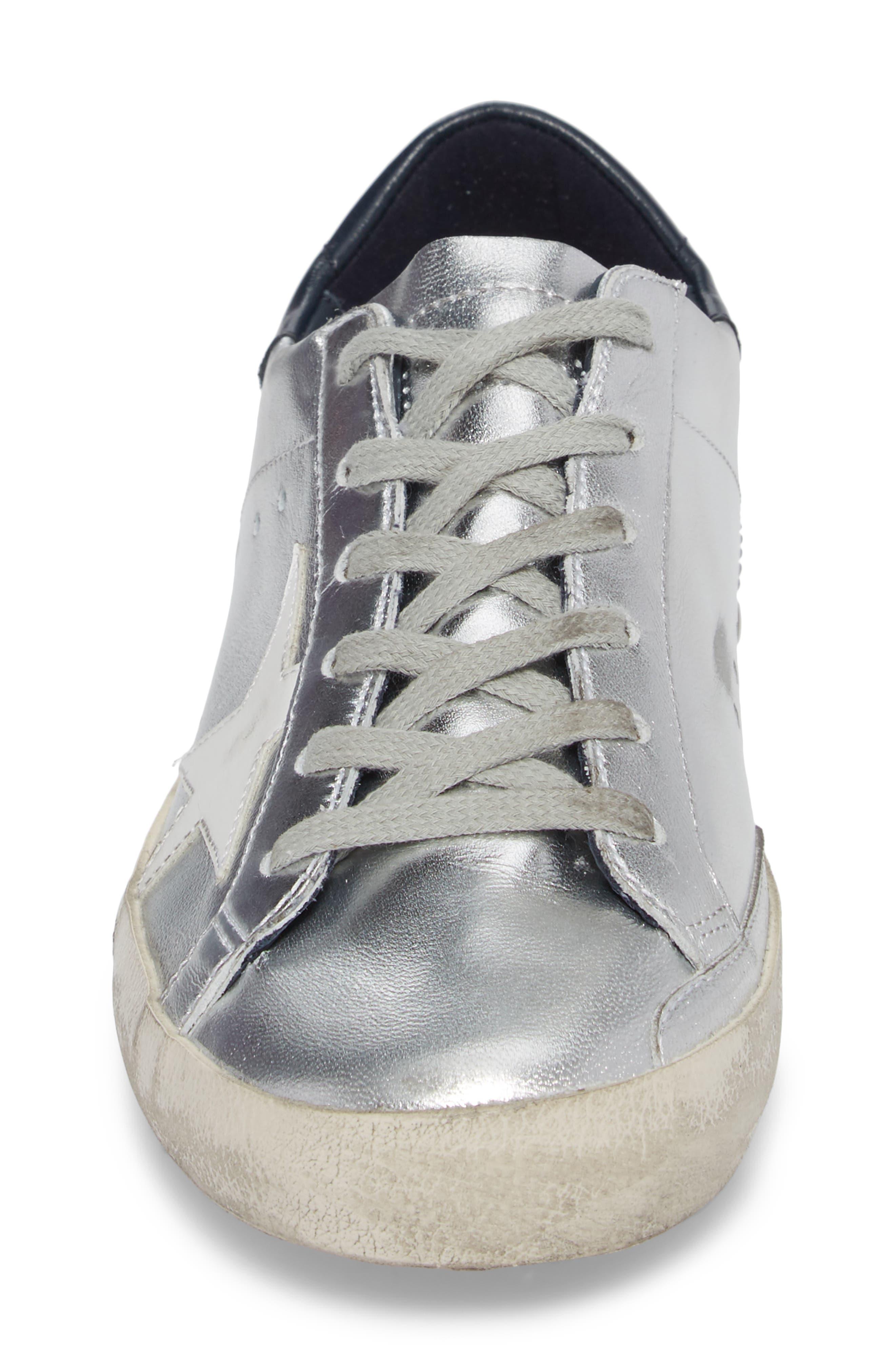Superstar Metallic Low Top Sneaker,                             Alternate thumbnail 4, color,                             Silver