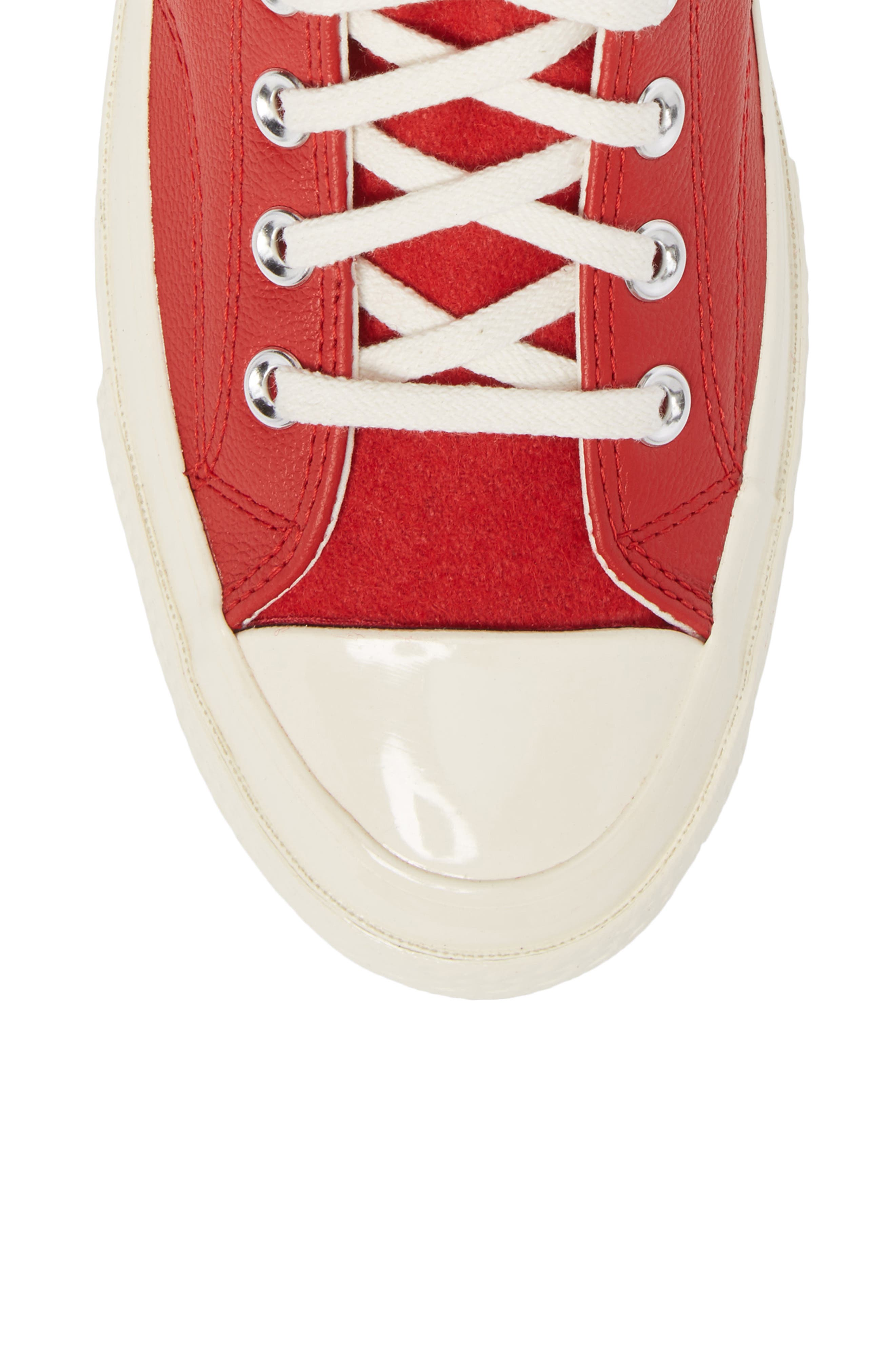 Chuck Taylor<sup>®</sup> All Star<sup>®</sup> Wordmark High Top Sneaker,                             Alternate thumbnail 5, color,                             Enamel Red Leather