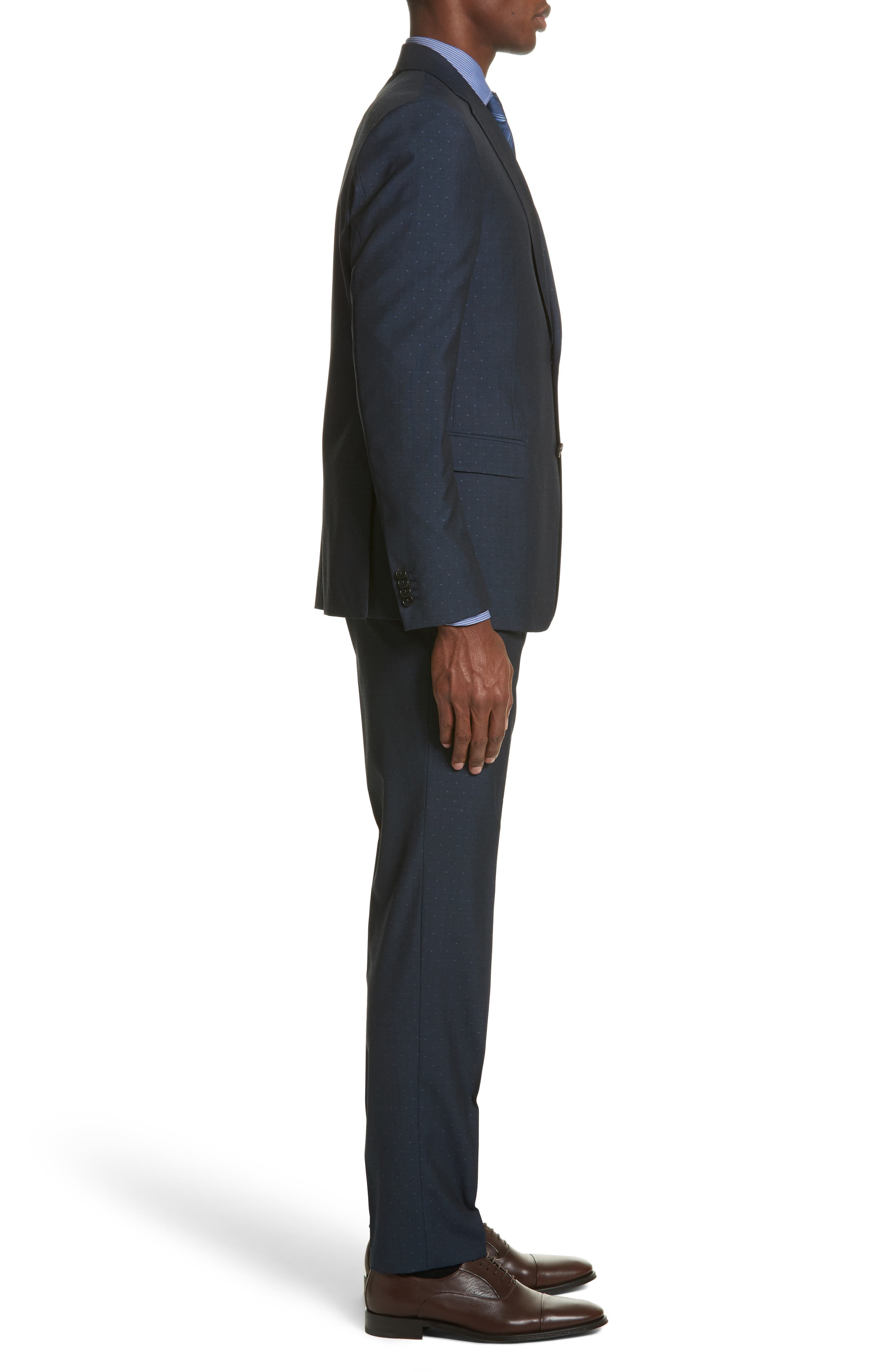 Classic Fit Dot Wool Suit,                             Alternate thumbnail 3, color,                             Navy Check