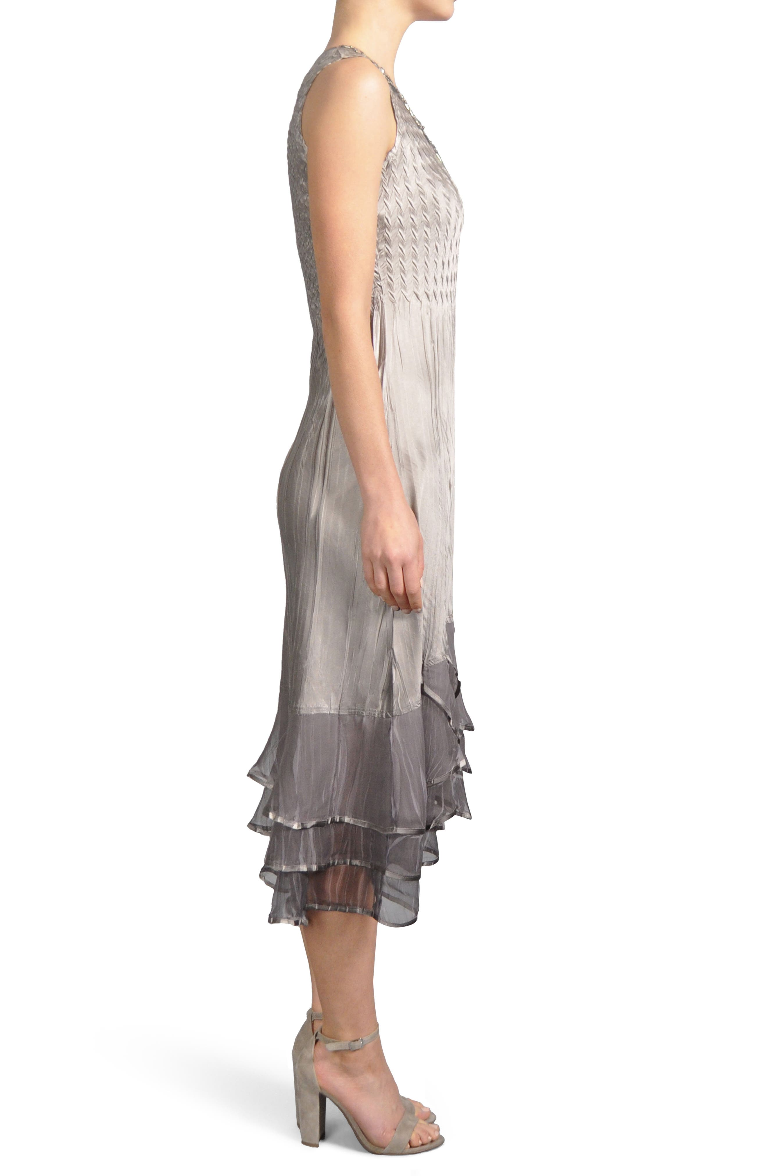 Embellished Tiered Hem Dress With Jacket,                             Alternate thumbnail 6, color,                             Oyster Smoke Ombre