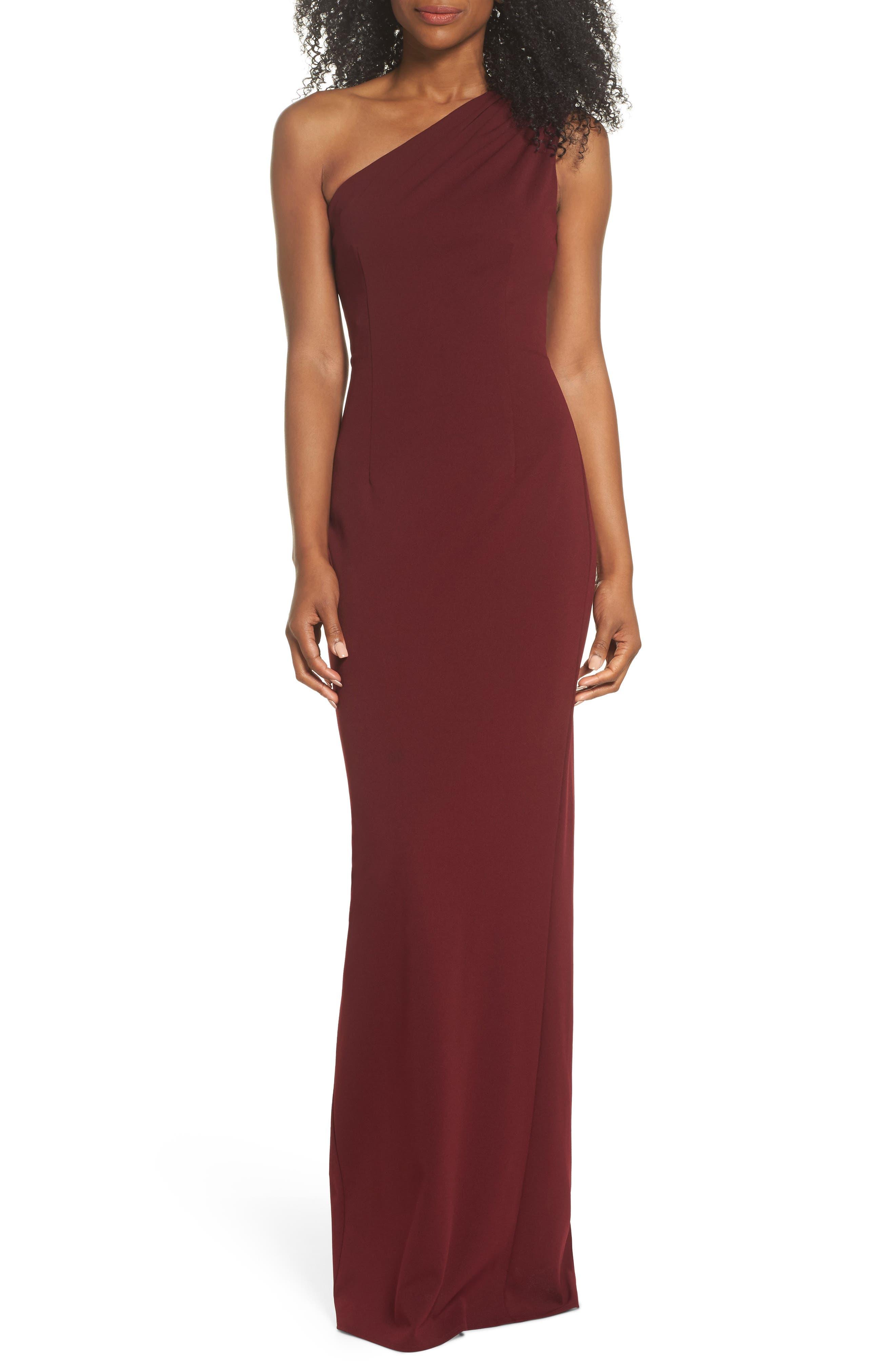 Angelina One-Shoulder Crepe Column Gown,                             Main thumbnail 1, color,                             Bordeaux