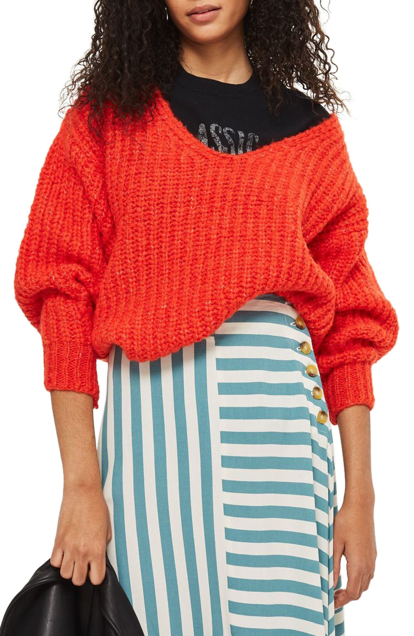 Oversized V-Neck Sweater,                         Main,                         color, Red