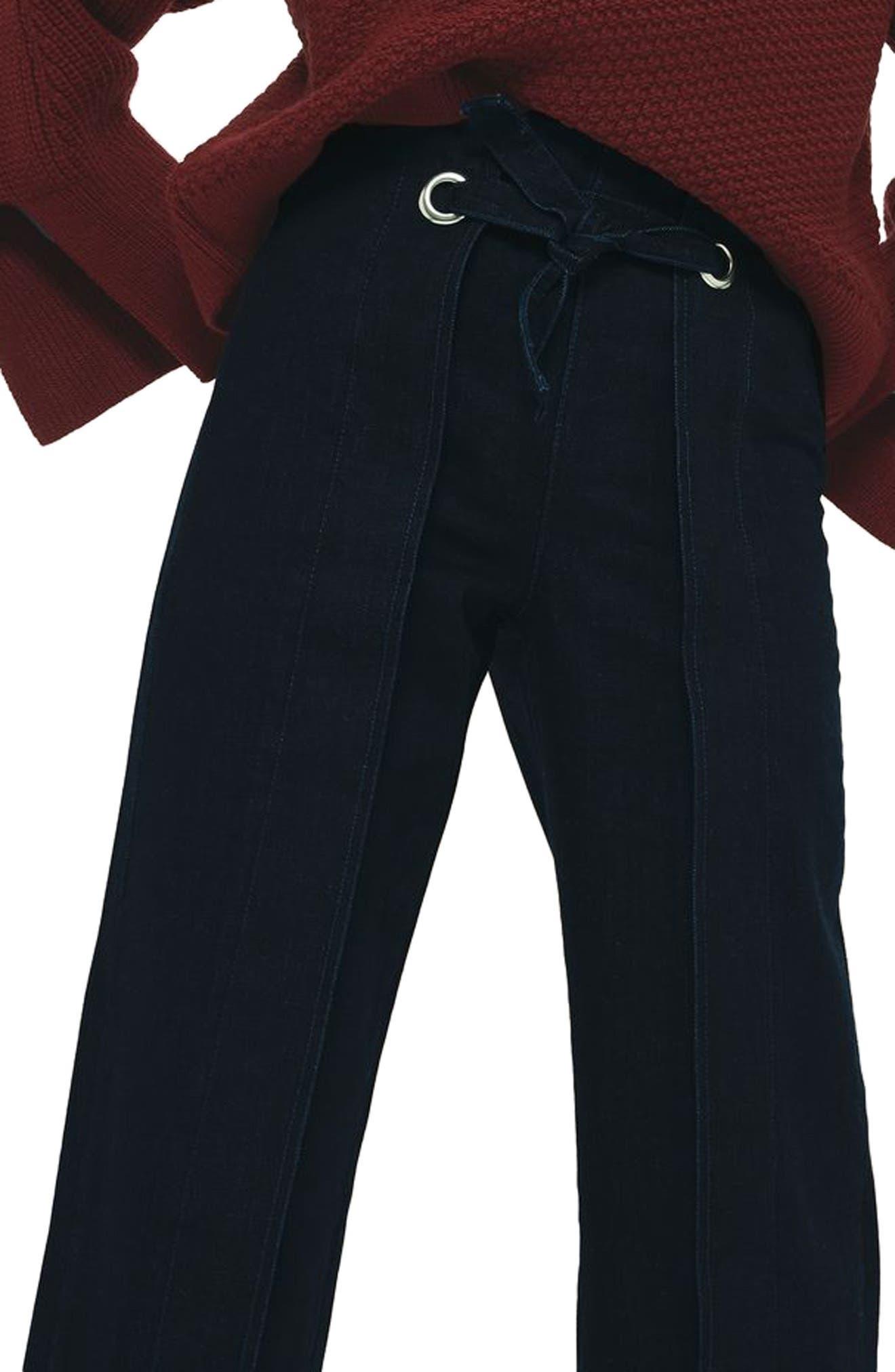 Tie Front Wide Leg Crop Jeans,                             Alternate thumbnail 3, color,                             Mid Denim