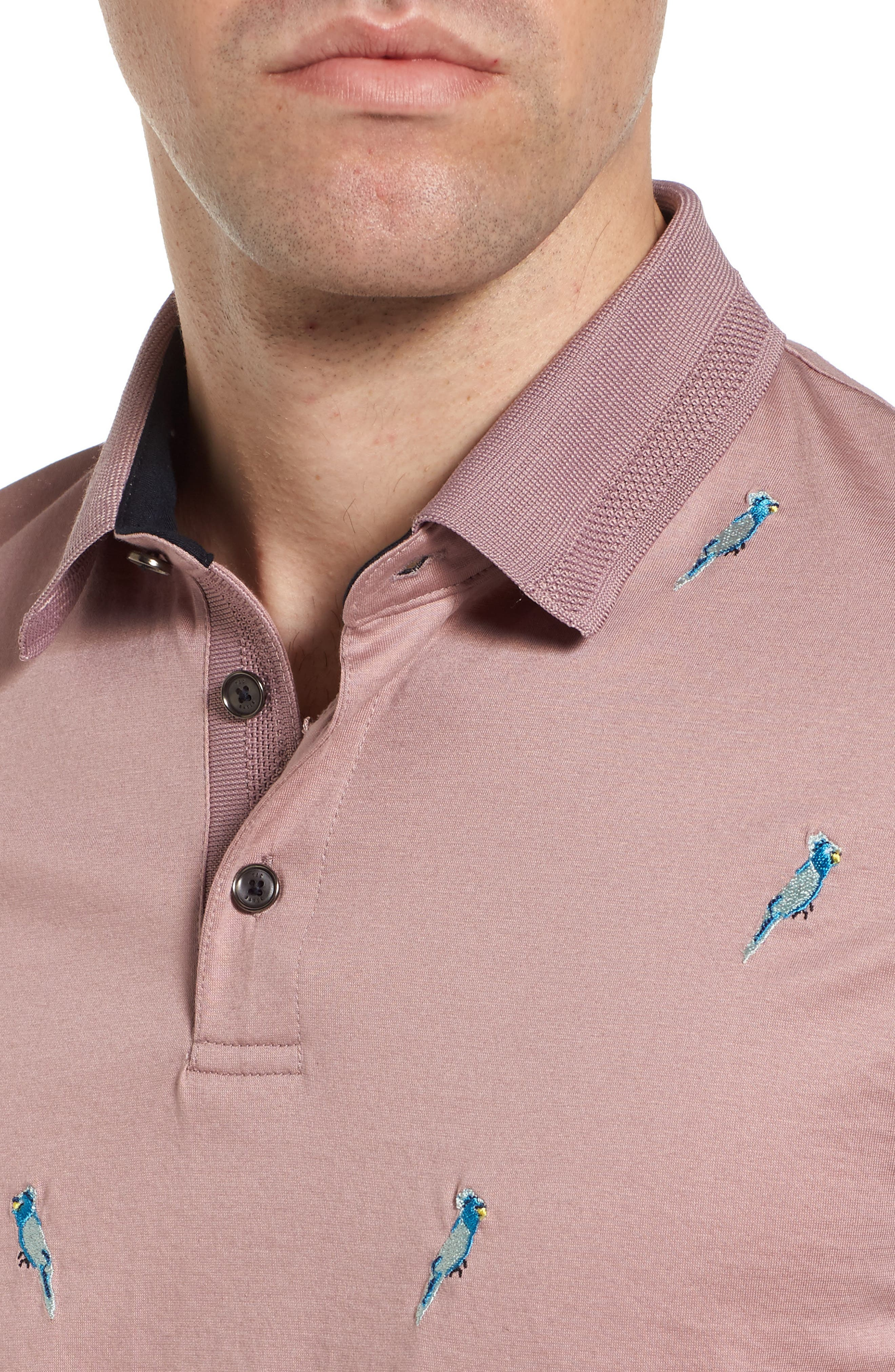 Scraffy Trim Fit Cockatoo Embroidered Polo,                             Alternate thumbnail 4, color,                             Dusky Pink