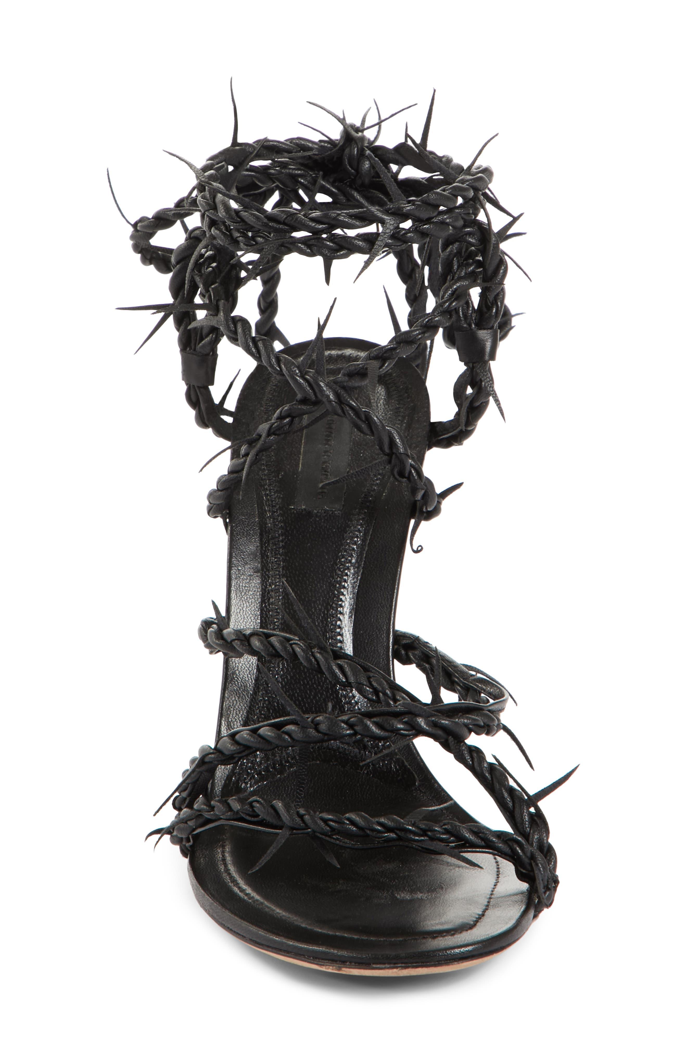 Lexie Cabel Wire Sandal,                             Alternate thumbnail 4, color,                             Black
