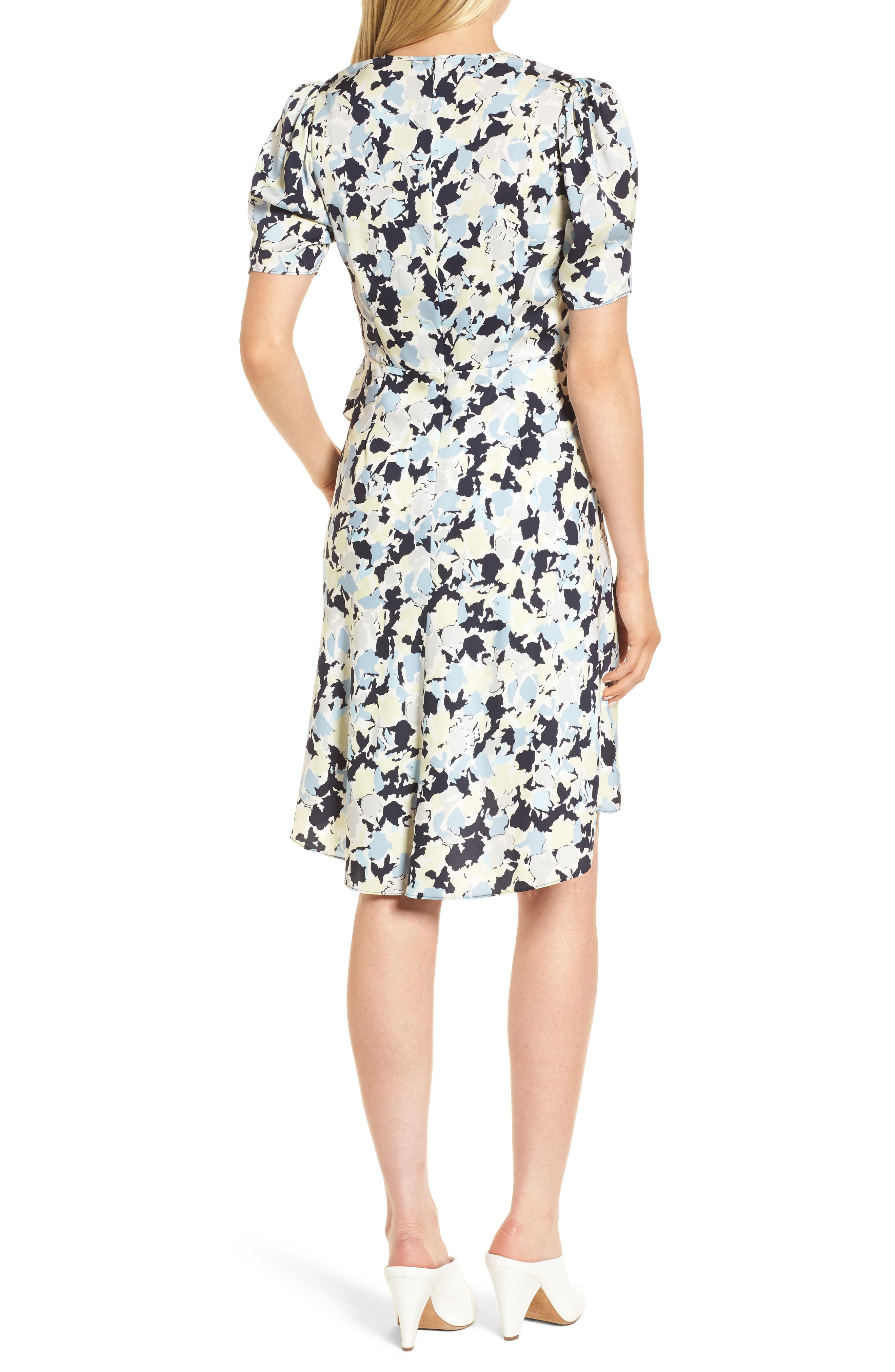 Ruffle Front A-Line Stretch Silk Dress,                             Alternate thumbnail 2, color,                             Navy Night Gia Print