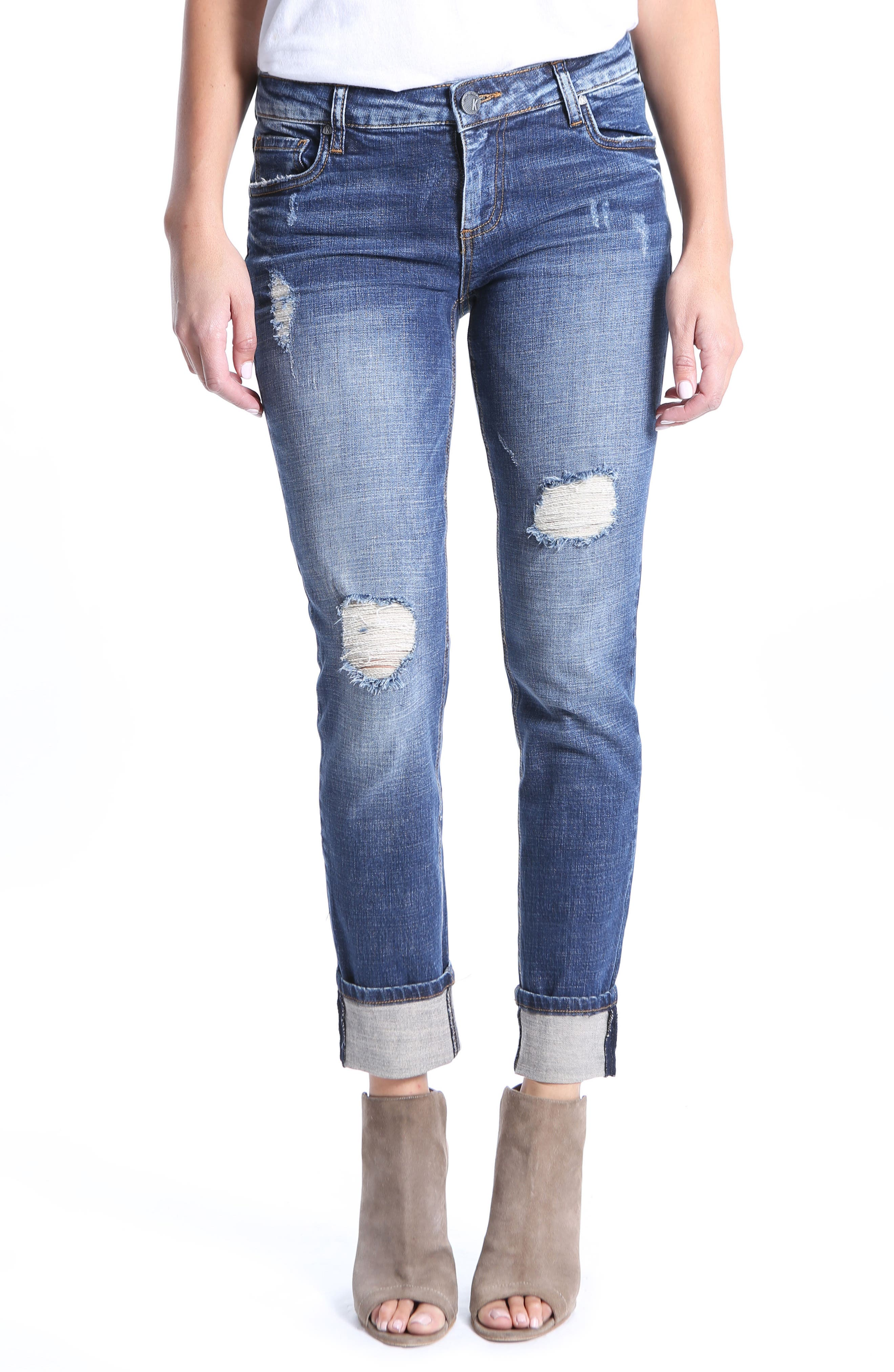 Catherine Ripped Boyfriend Jeans,                         Main,                         color, Impressed