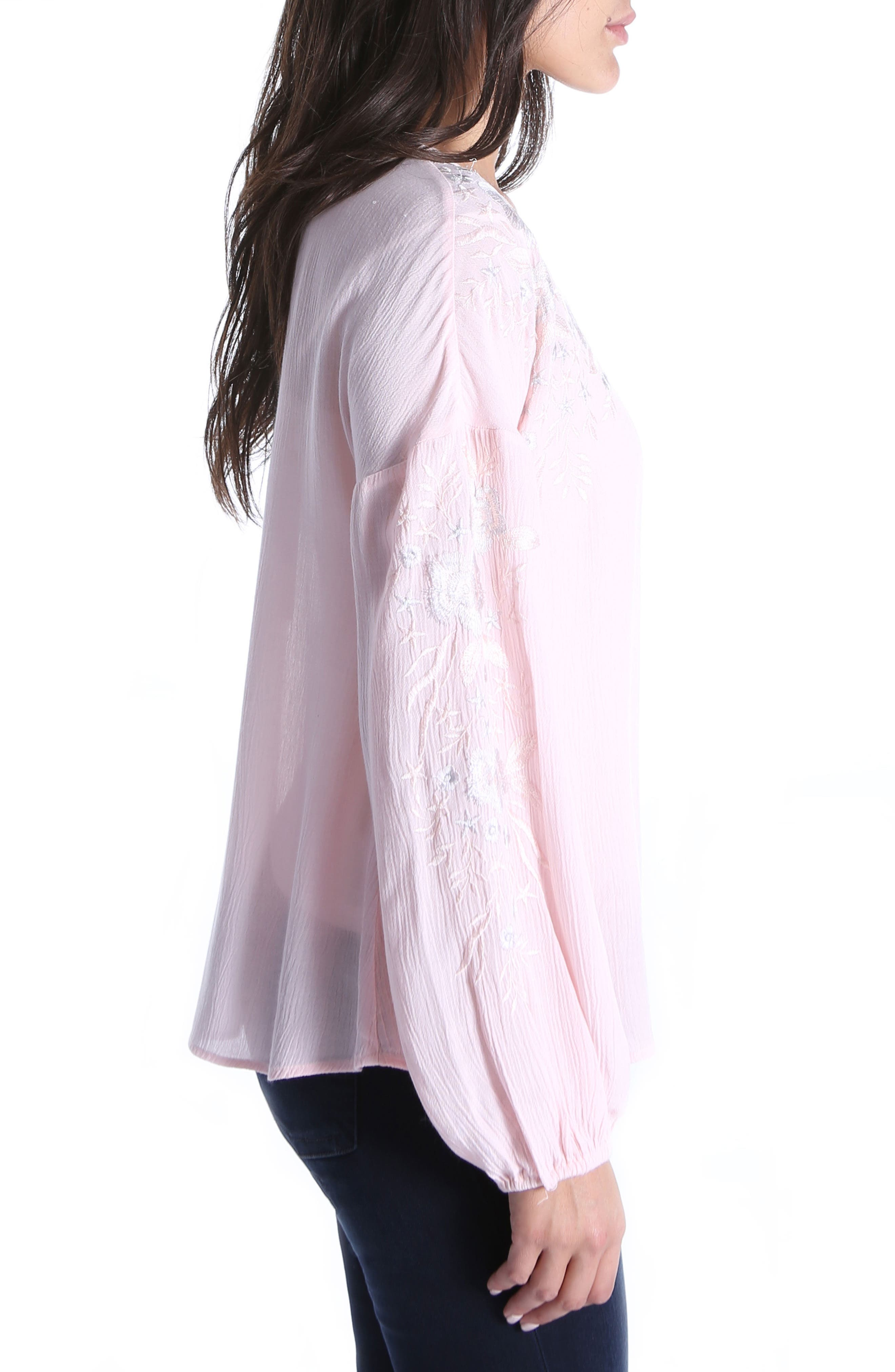 Ailiana Embroidered Blouse,                             Alternate thumbnail 3, color,                             Pink Bloom