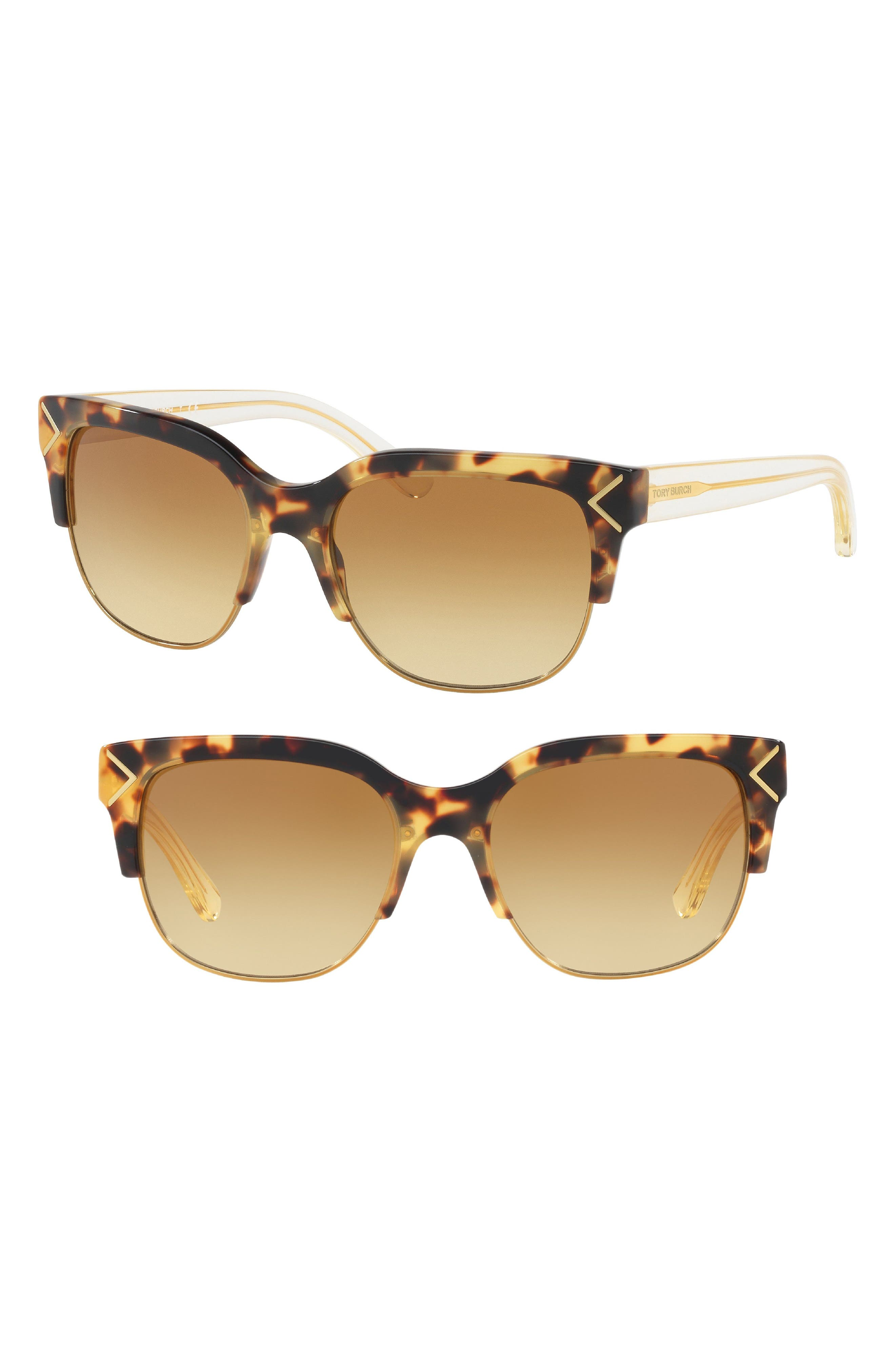 55mm Gradient Square Sunglasses,                         Main,                         color, Gold/ Brown