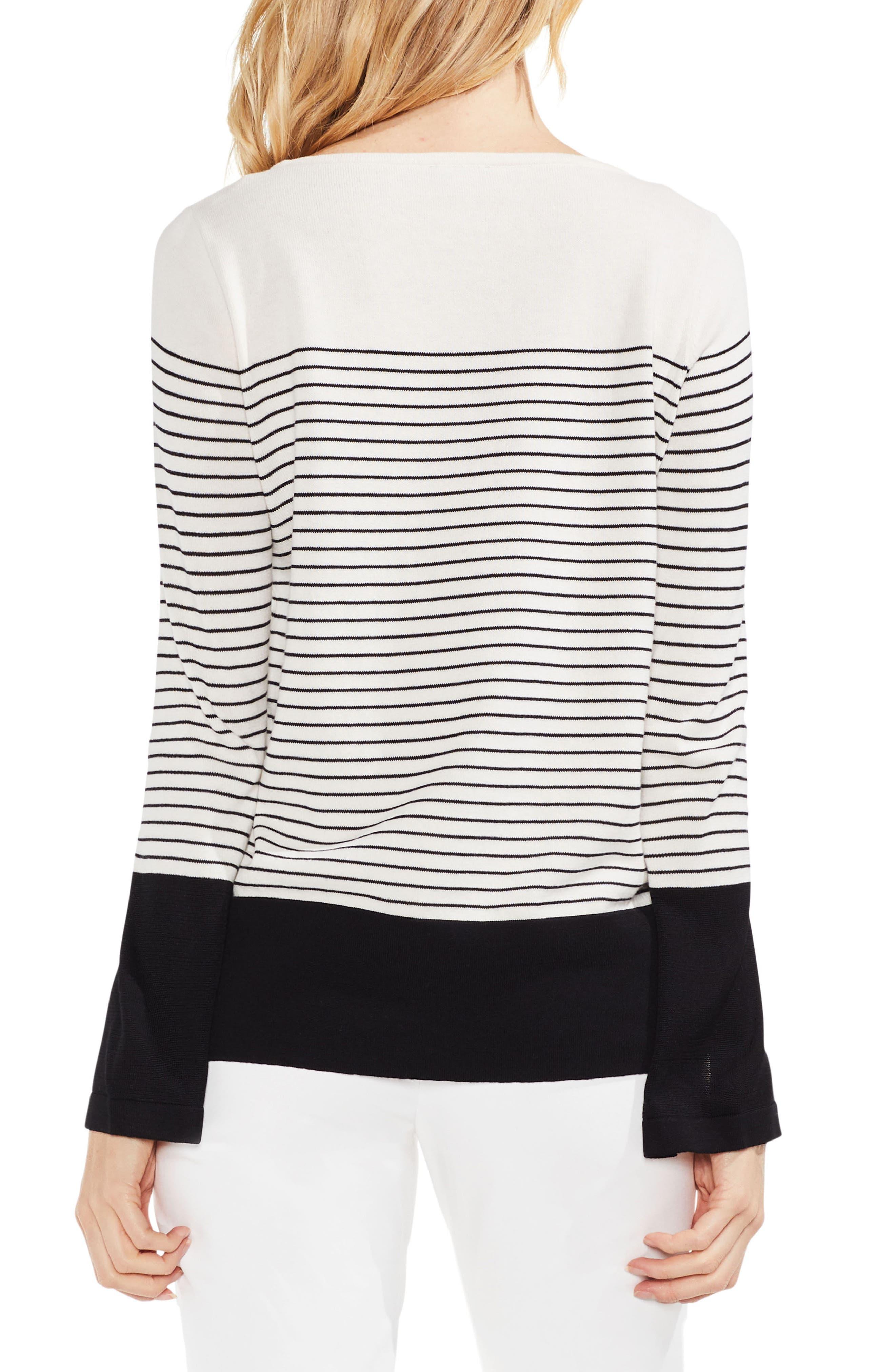 Colorblock Stripe Sweater,                             Alternate thumbnail 2, color,                             Antique White