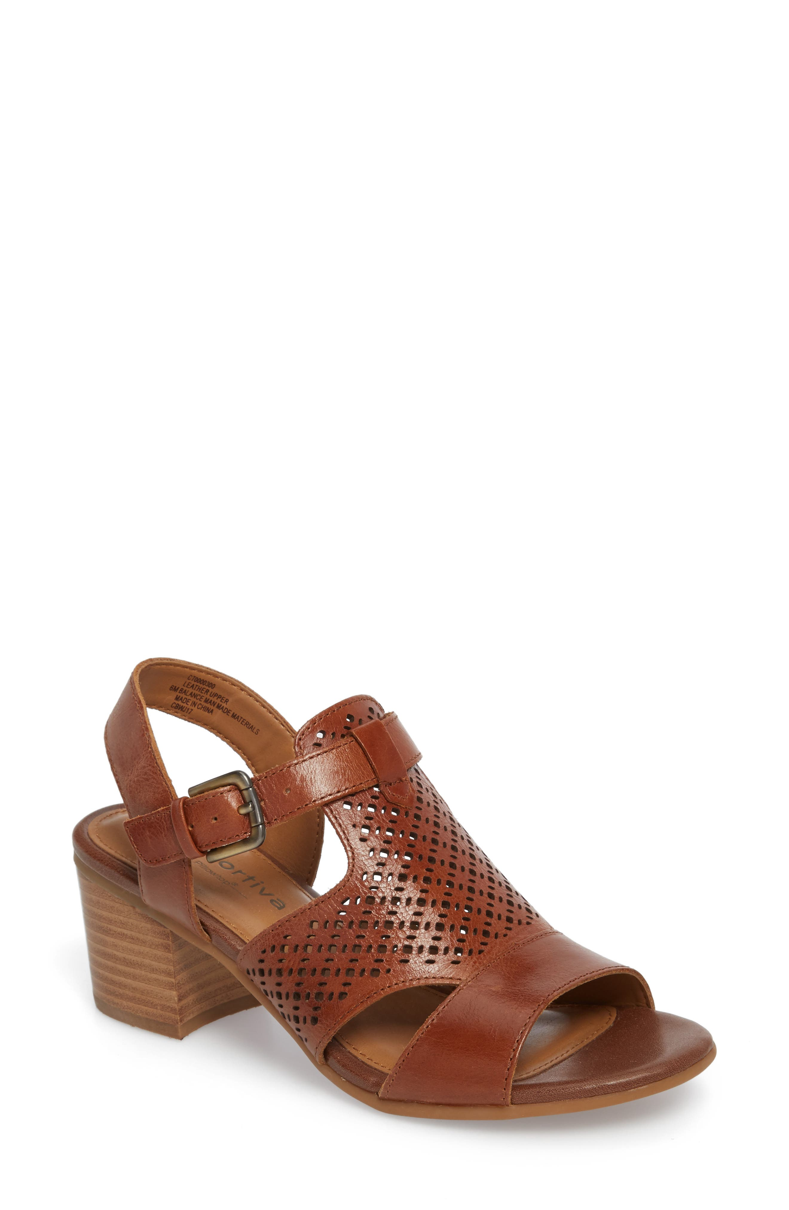 Amber Perforated Block Heel Sandal,                         Main,                         color, Luggage Leather